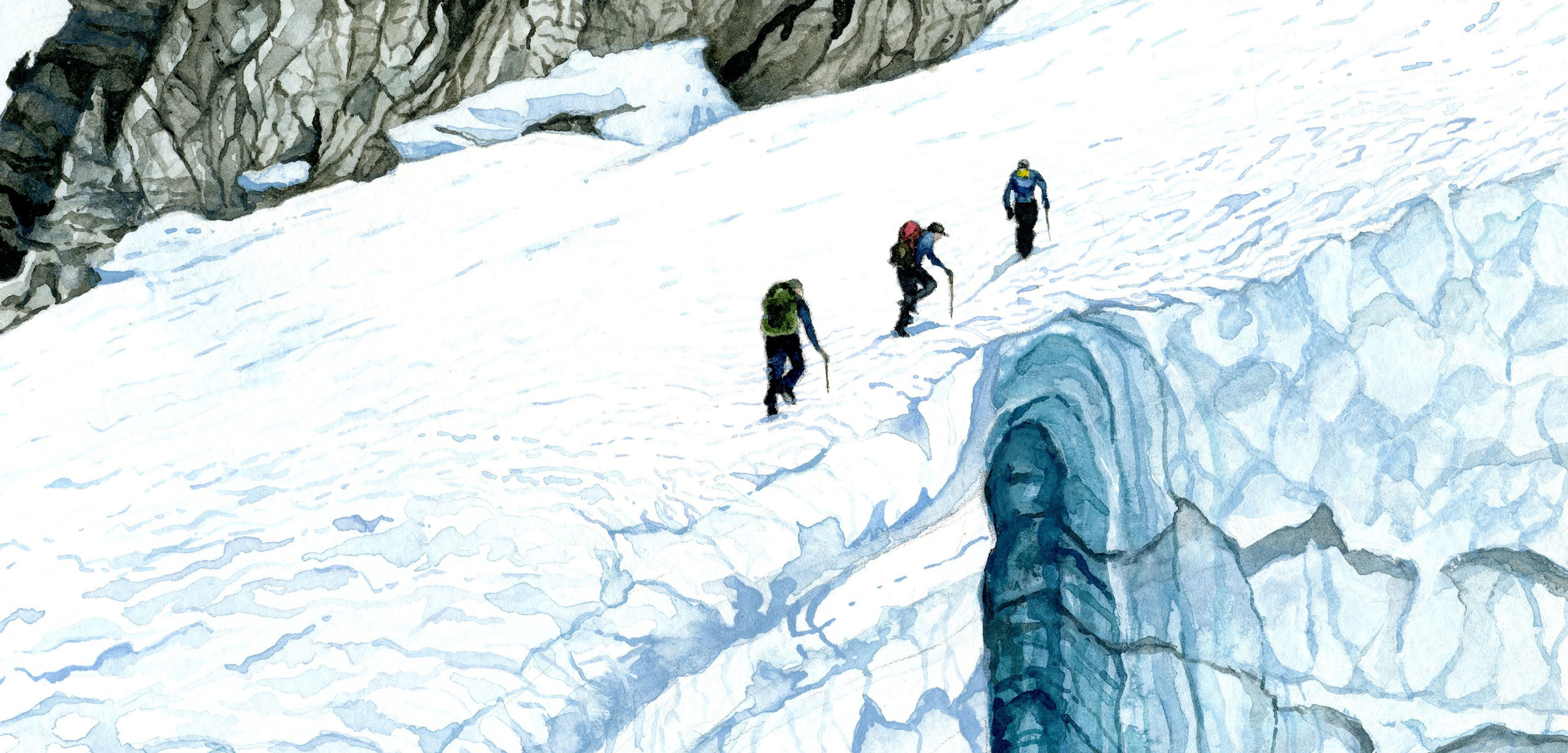 watercolor painting by Jill Pelto of researchers on a glacier