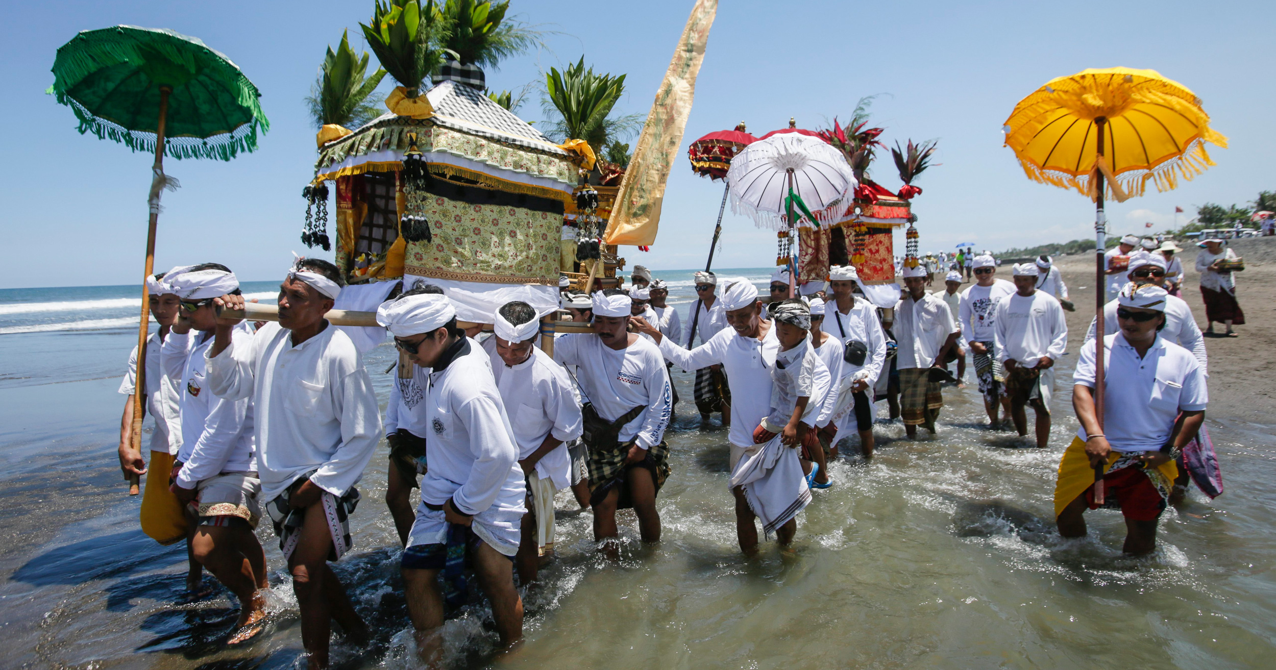Melasti, a purifying ritual practiced by Balinese Hindus, is one of many ceremonies that rely on the power of the sacred sea. Photo by Made Nagi/epa/Corbis