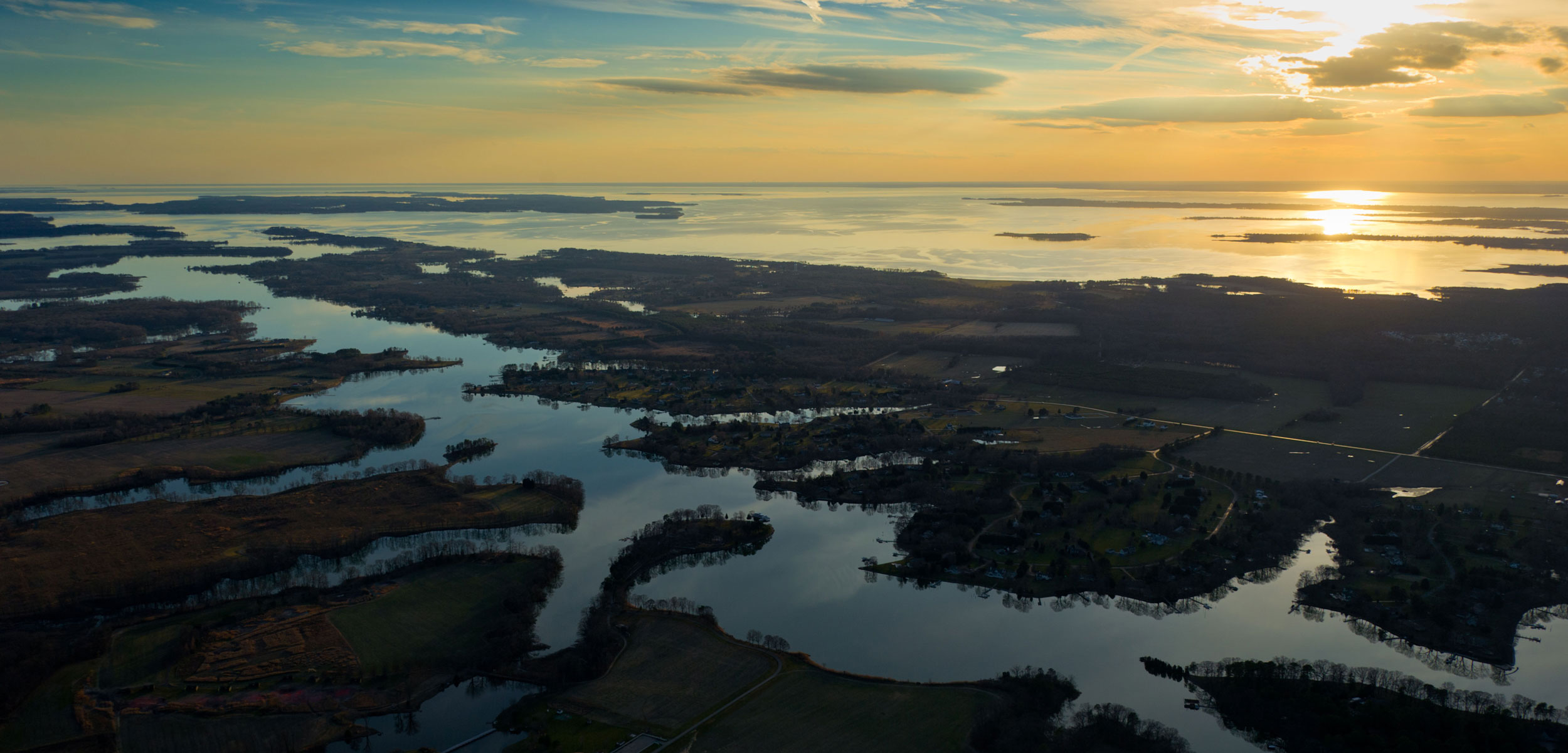 estuaries of the Chesapeake Bay from the sky