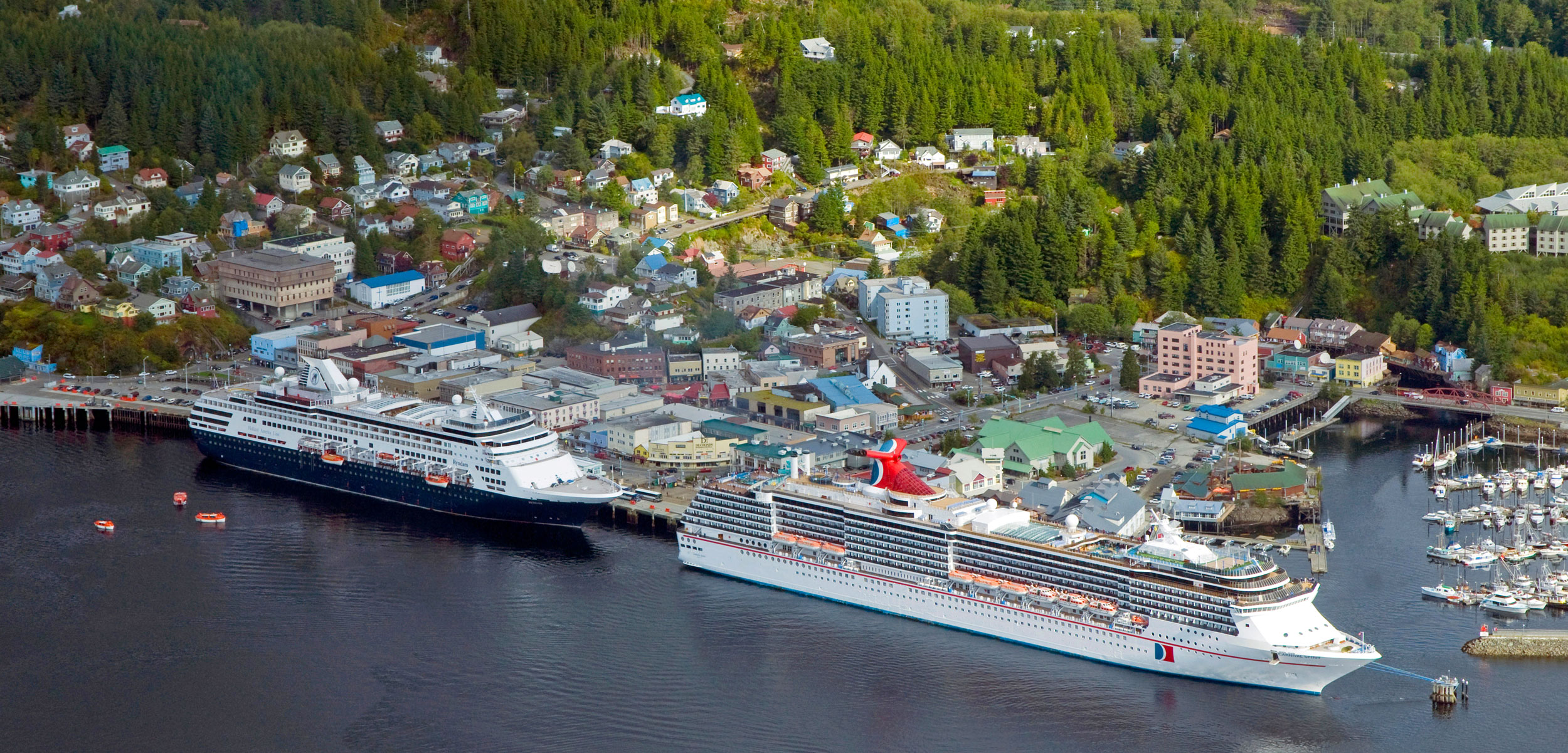 aerial photo of cruise ships in Ketchikan, Alaska