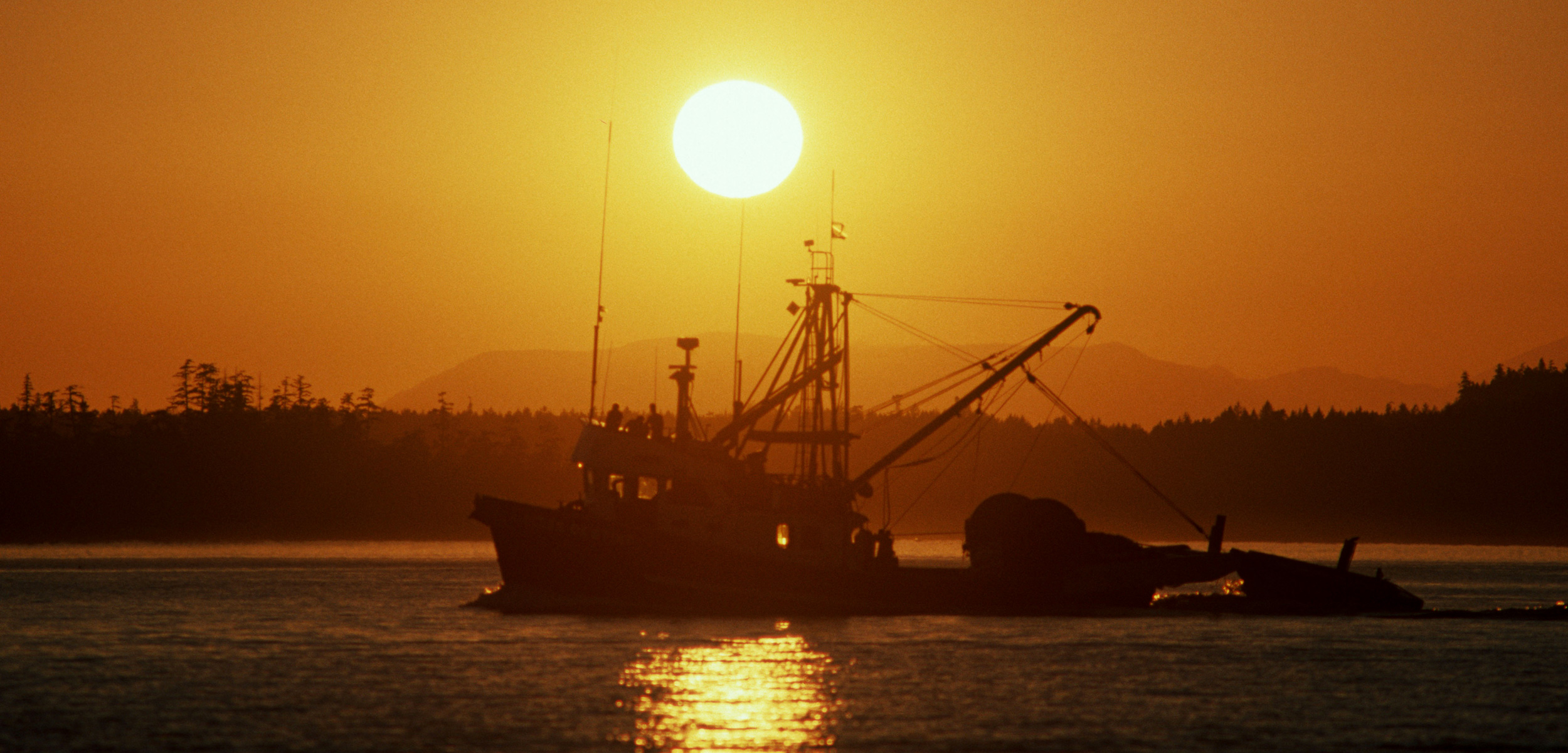 Vancouver Island commercial fishboat in sunset, British Columbia, Canada