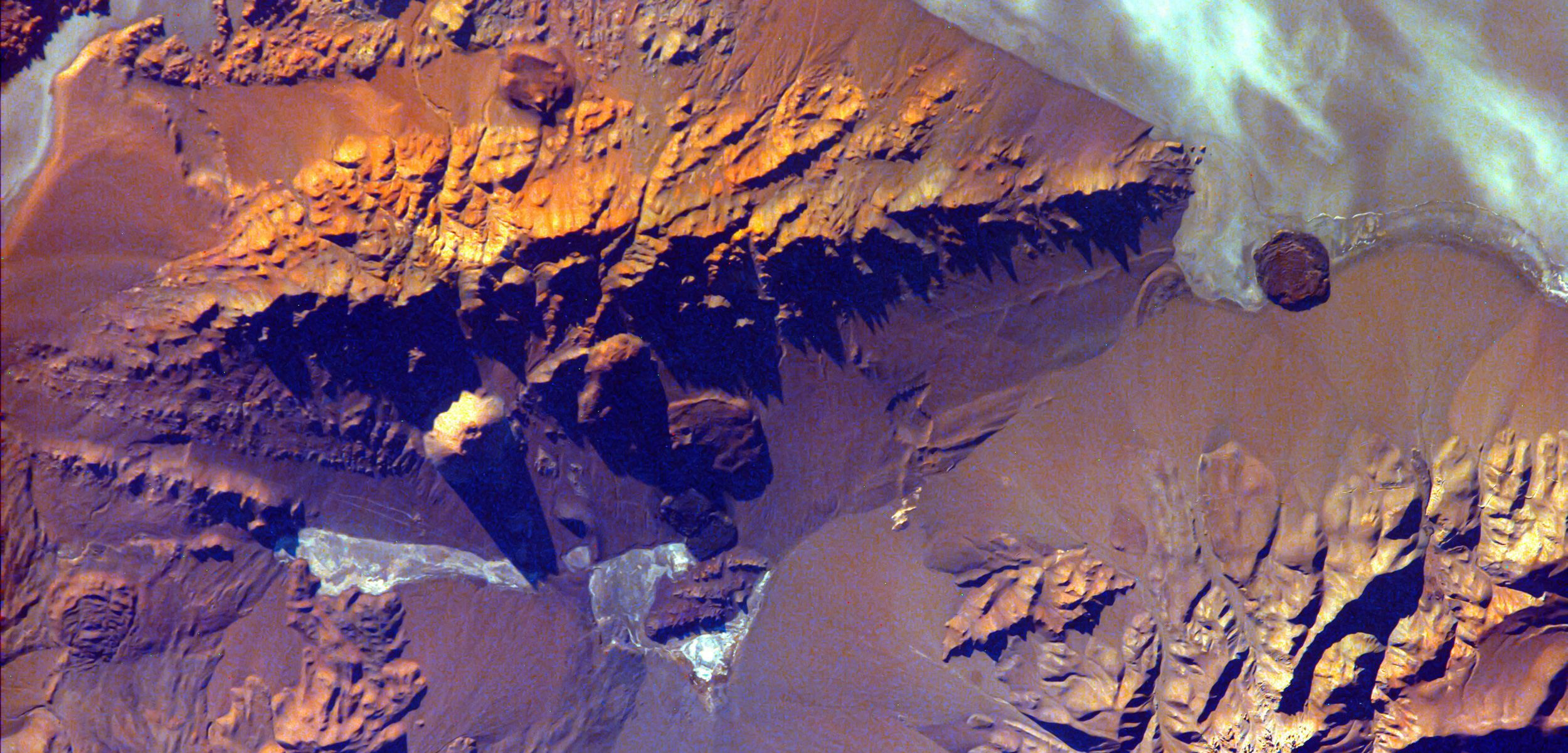 aerial photo of Andes mountains