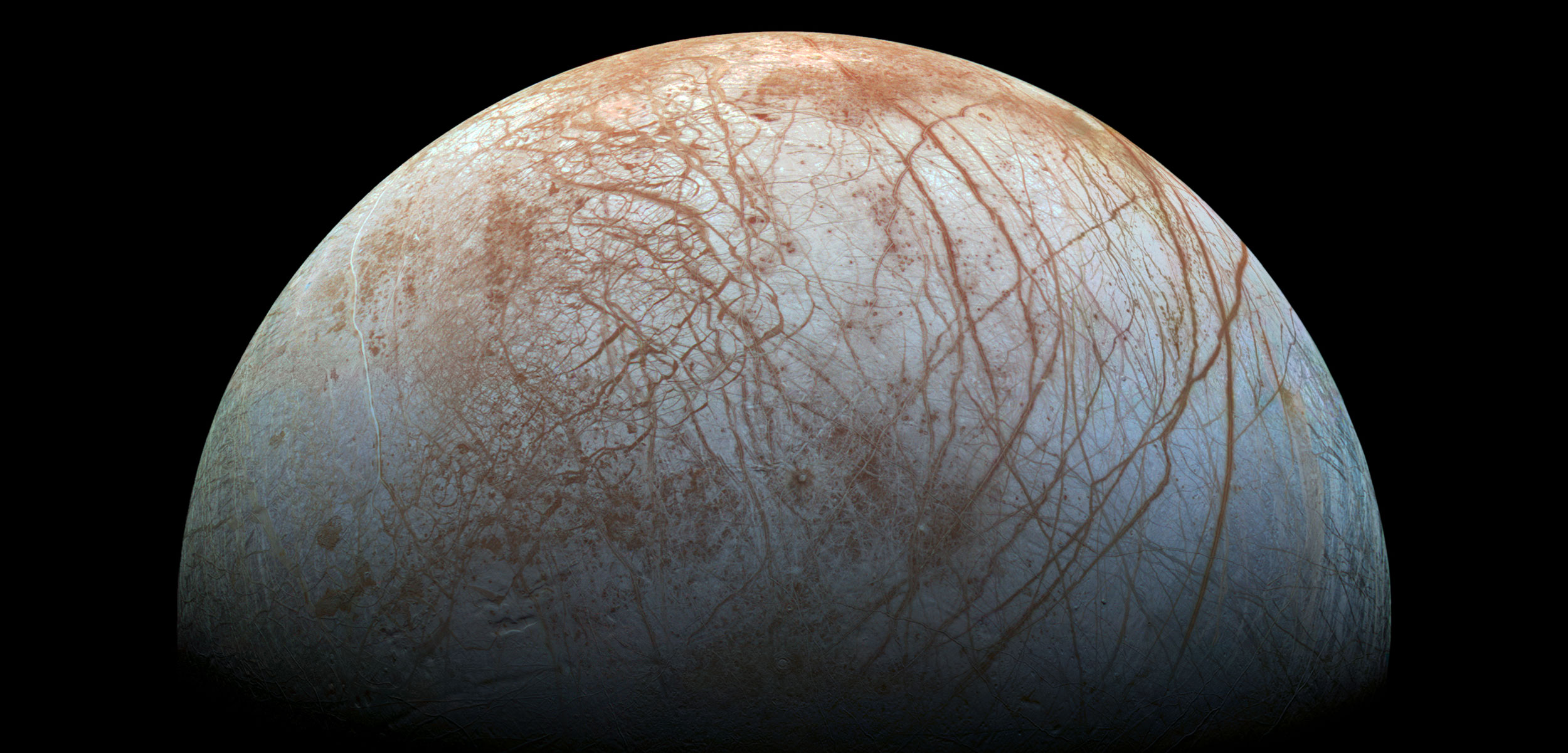 If life exists below Europa's icy exterior, it would have had to adapt to colder and deeper conditions than those found in Earth's deep seas. Photo by NASA/JPL-Caltech/SETI Institute