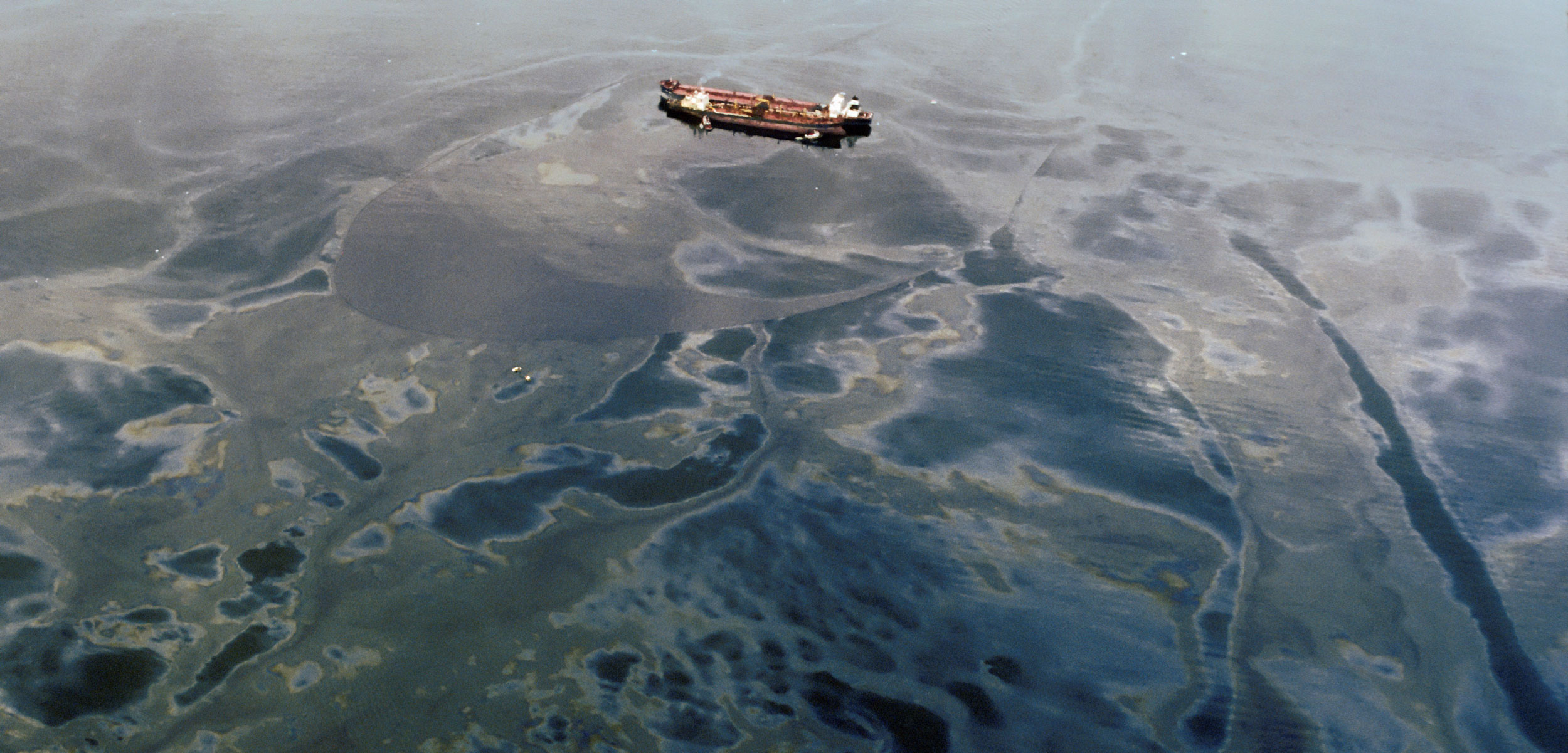aerial photo of the Exxon Valdez oil spill