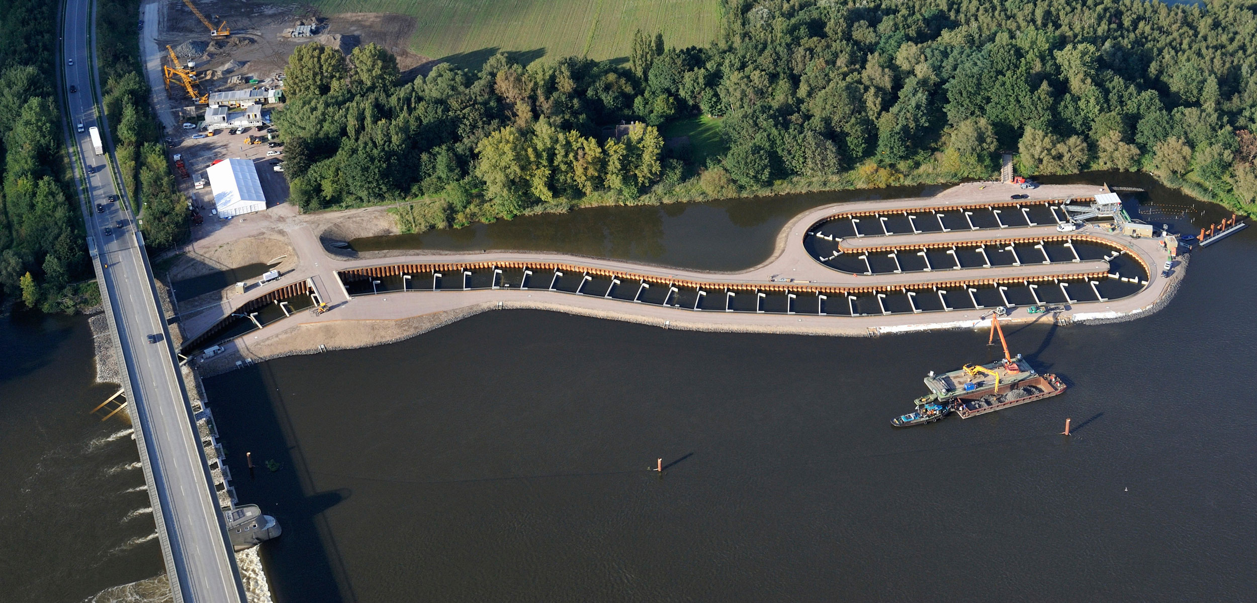 A fish ladder in the Elbe river, Germany