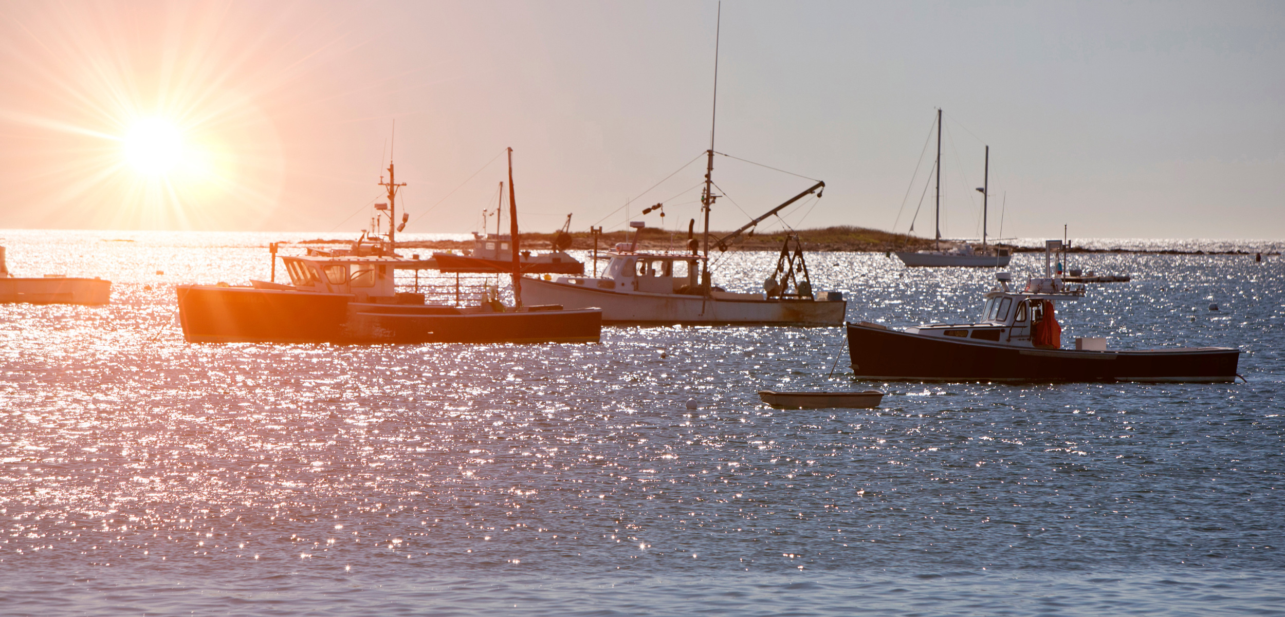 Boats on water with sun