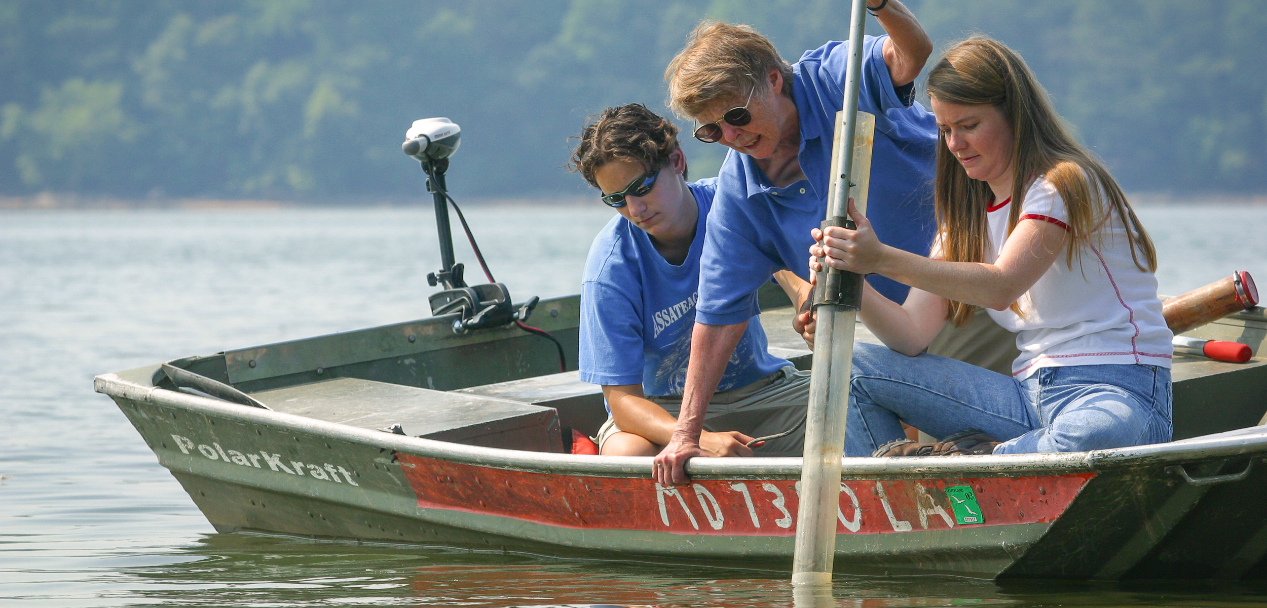 When scientists discovered that the Chesapeake Bay—one of the world's largest estuaries—was dying in the 1970s, Grace Brush (middle) and her students and colleagues set out to find out why. Photo by Skip Brown