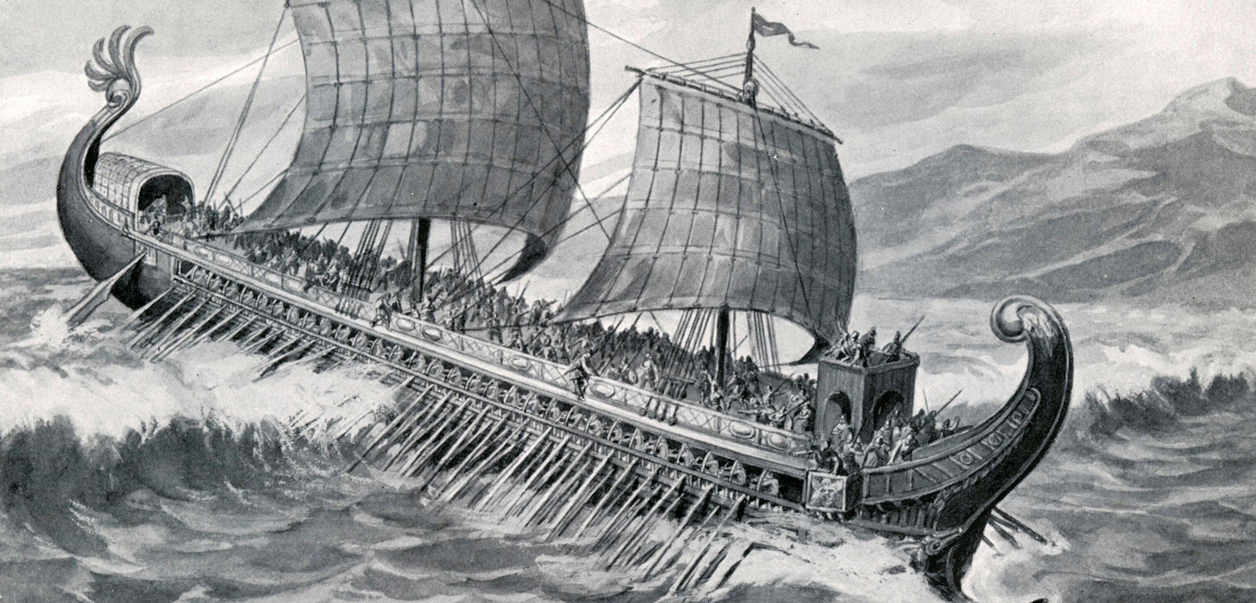 an illustration of a Greek trireme