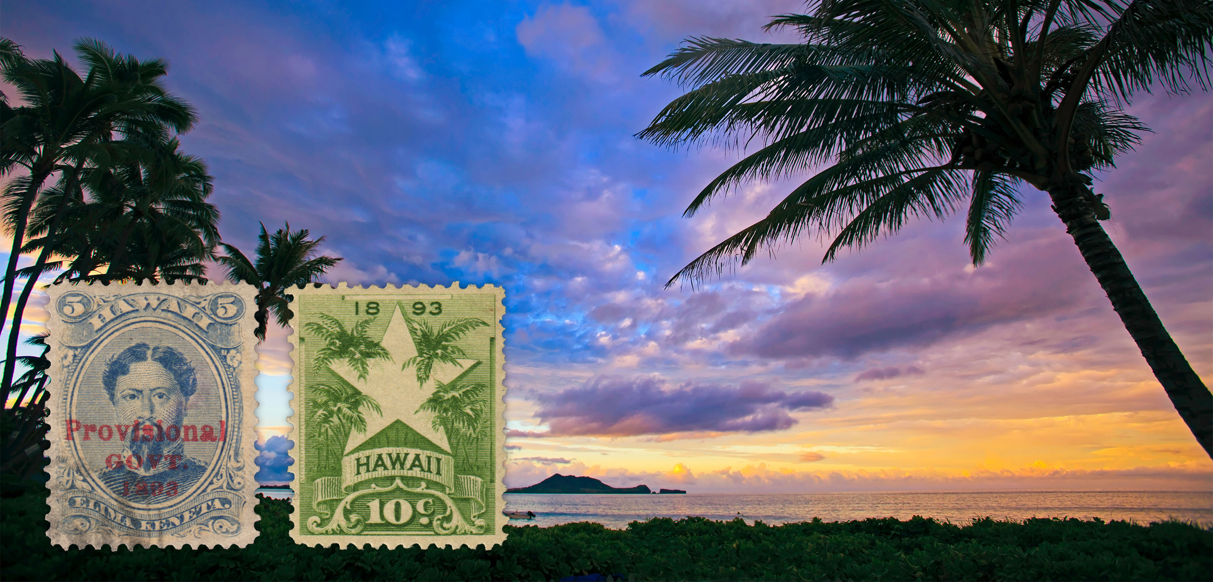 When the Provisional Government pushed its way into power in Hawai'i in 1893, it stamped its name over the royal portraits that adorned existing postage stamps. The new government then ordered new stamps, including the star and palms, which is a visual statement of its desire to Americanize the once-independent kingdom. Background photo by Tomas del Amo/Alamy Stock Photo