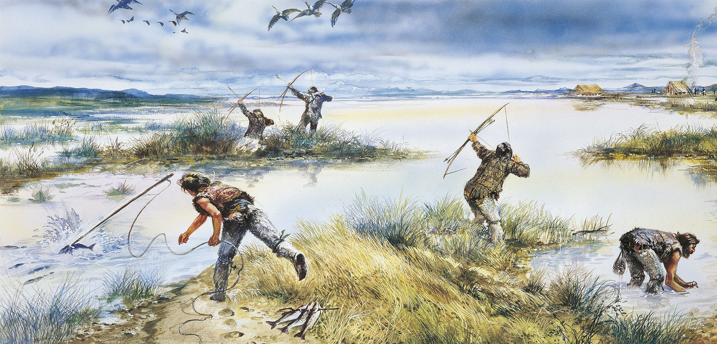 illustration of neolithic hunters