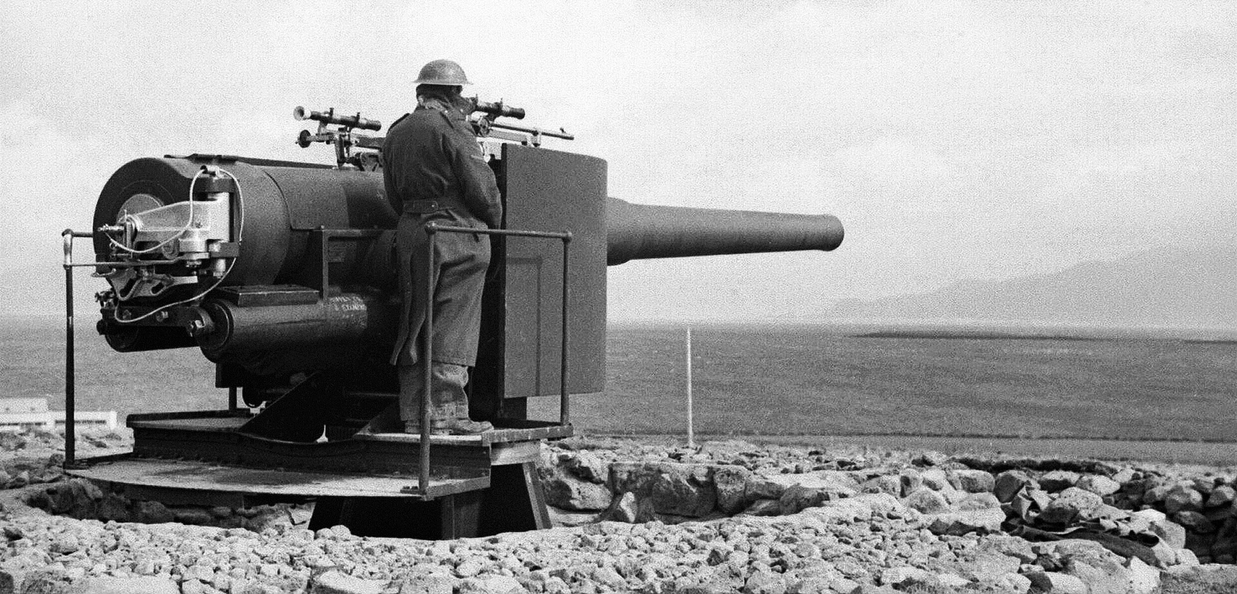 6-inch naval gun overlooking Reykjavik Bay in Iceland, 1940