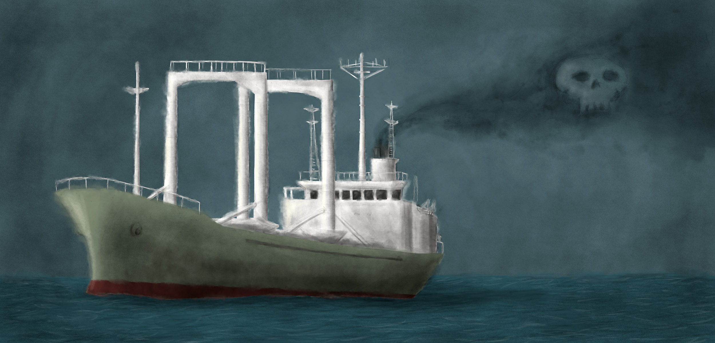 illustration of transshipment vessel with skull in smoke