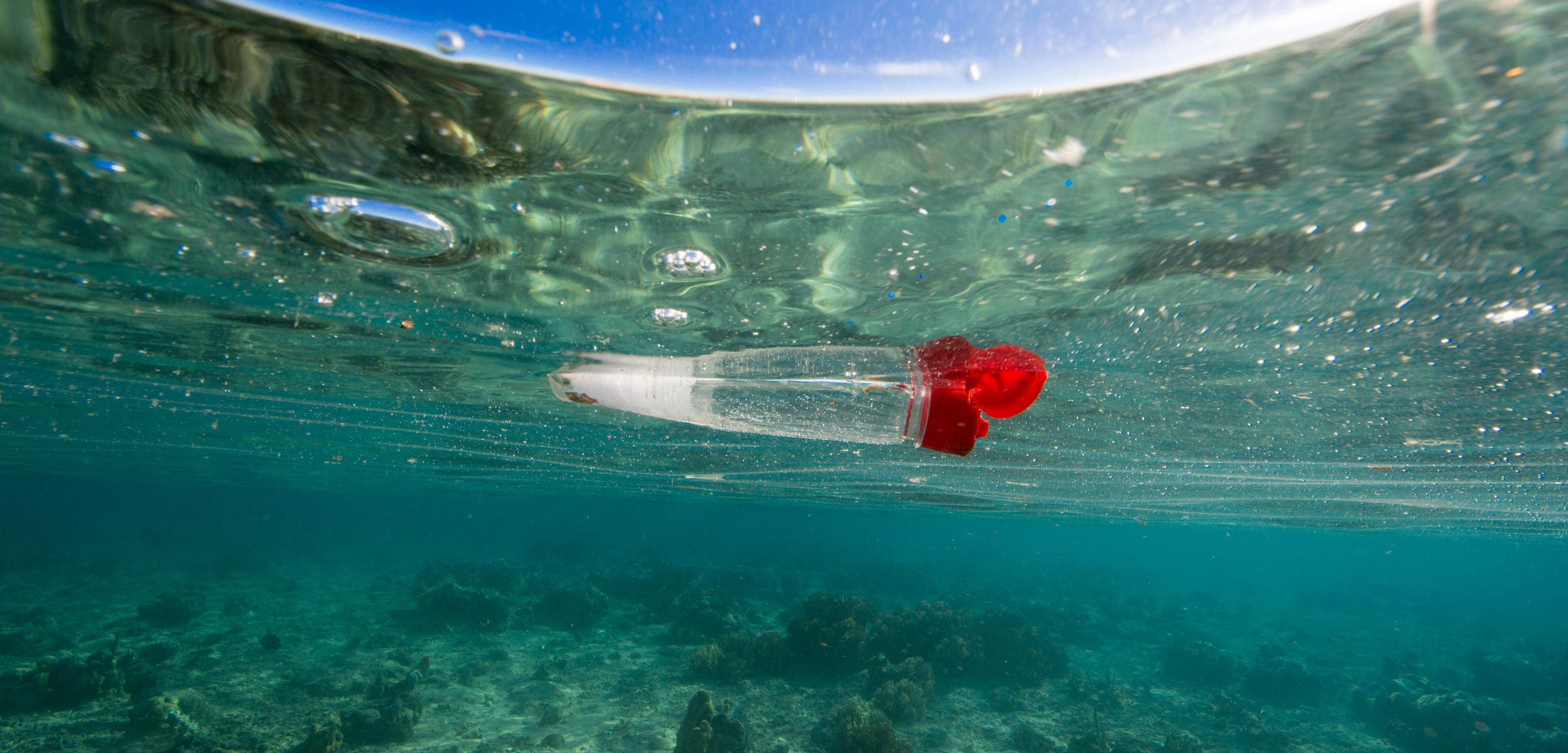 plastic bottle floating in the ocean