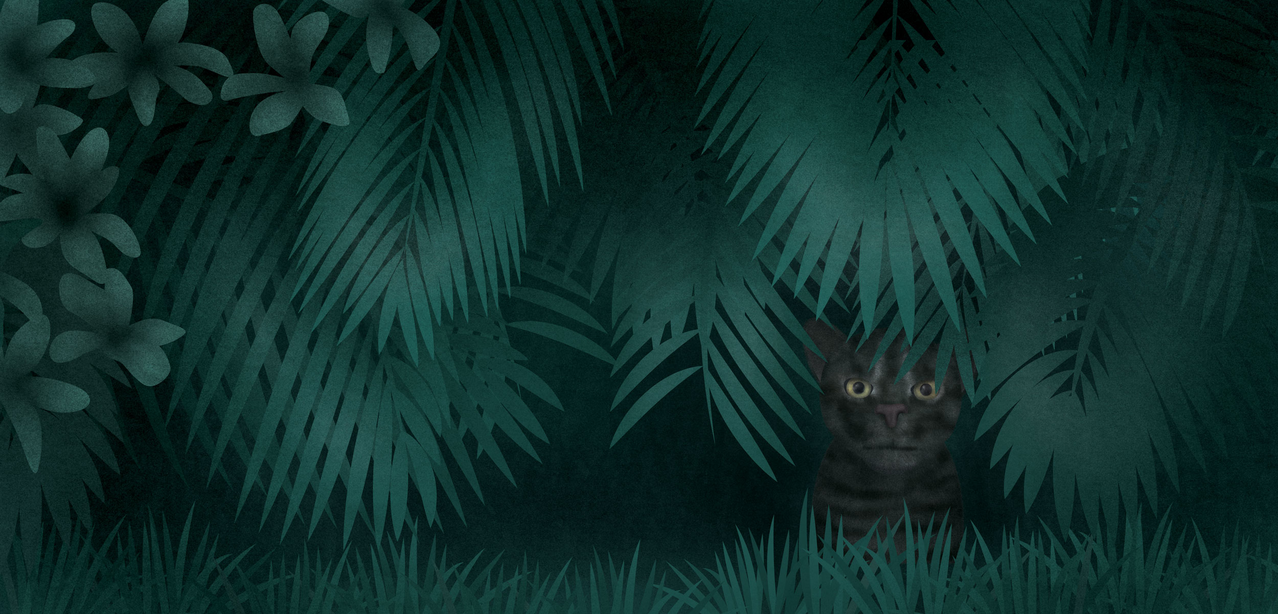 illustration of an Iriomote Cat hiding in plants