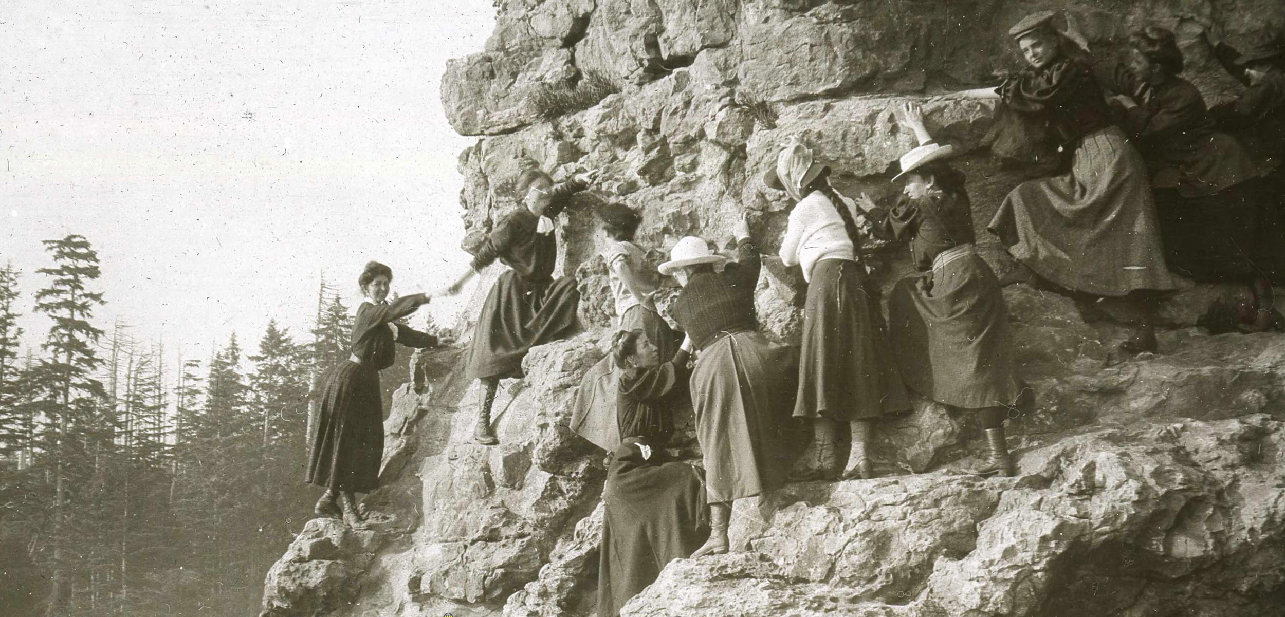 "Young women studying at the Minnesota Seaside Station were advised to wear ""a short skirt, about 12 inches from the ground"" for fieldwork. Photo courtesy of the University of Minnesota"