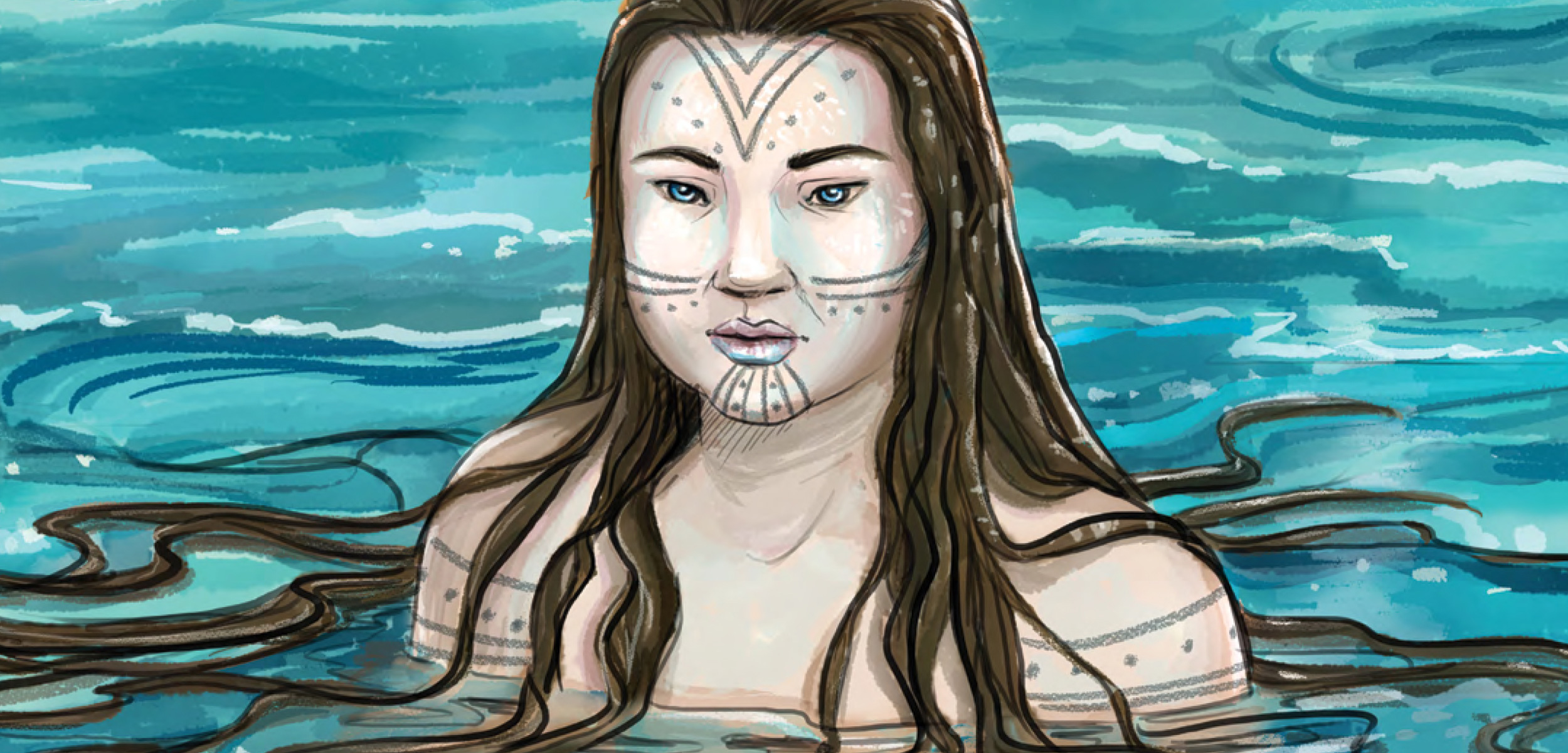 A detail of the cover illustration from The People of the Sea by Donald Uluadluak and Mike Motz. Cover image courtesy of Inhabit Media