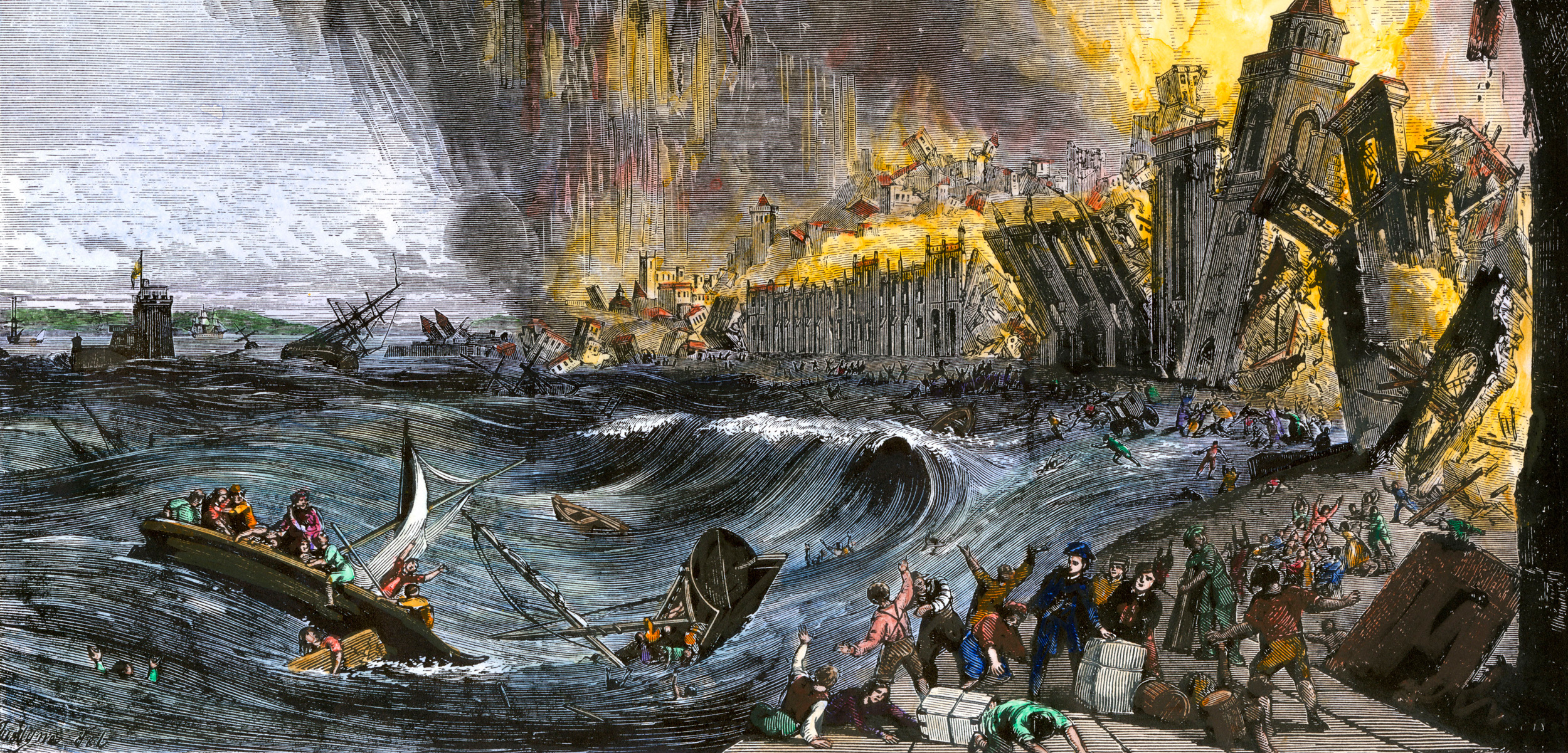 illustration of Lisbon earthquake and tsunami of 1755