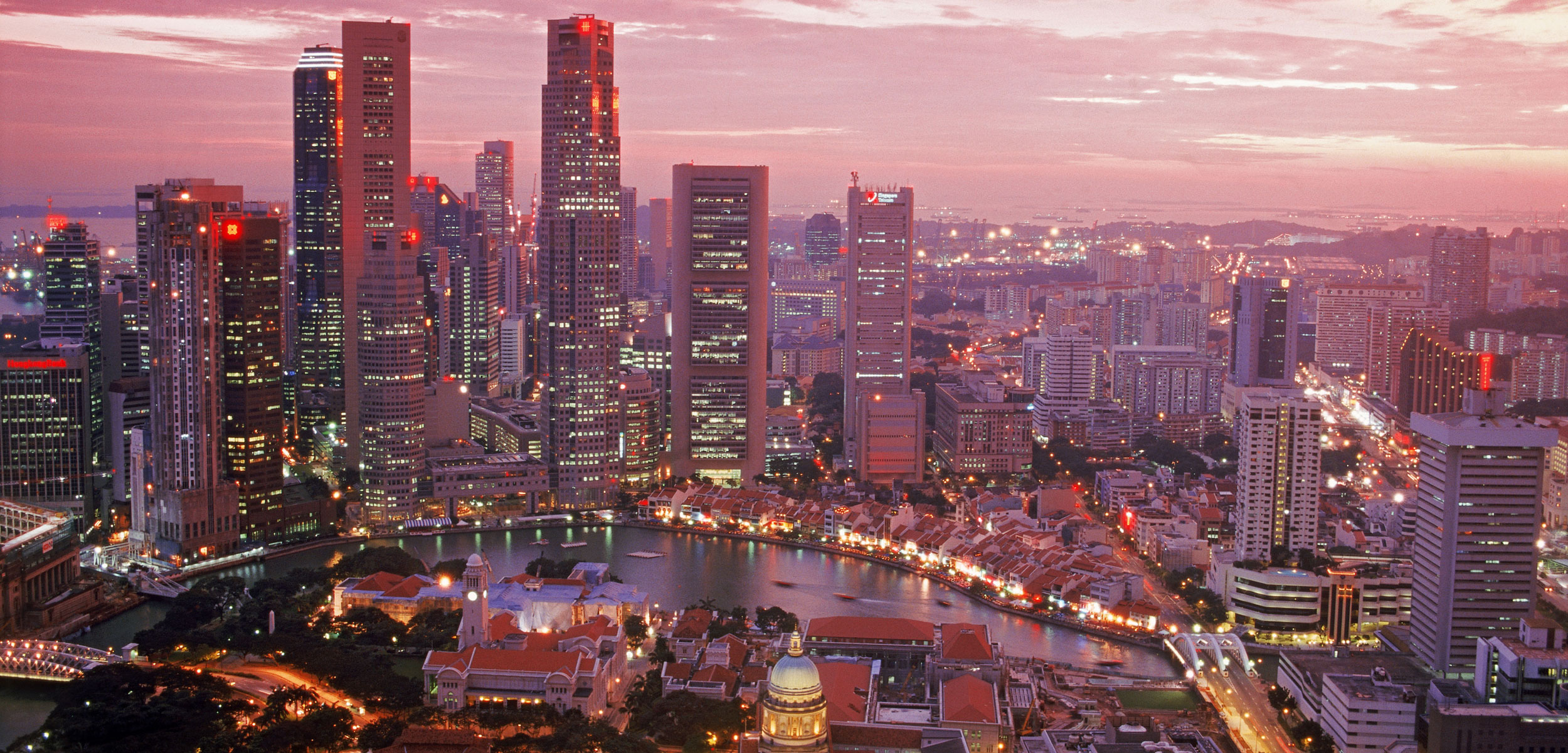 Central business district of Singapore at sunset