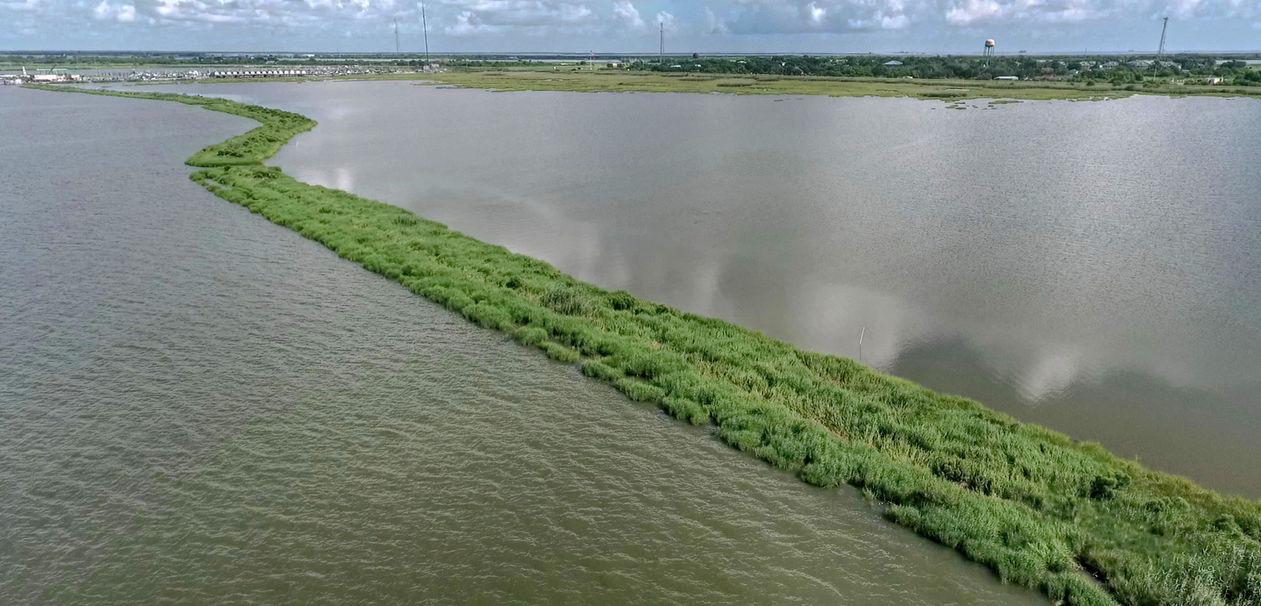 Along the coastline of Louisiana, artificial islands provide habitat for fish and wildlife and help lessen the impacts of wind and waves