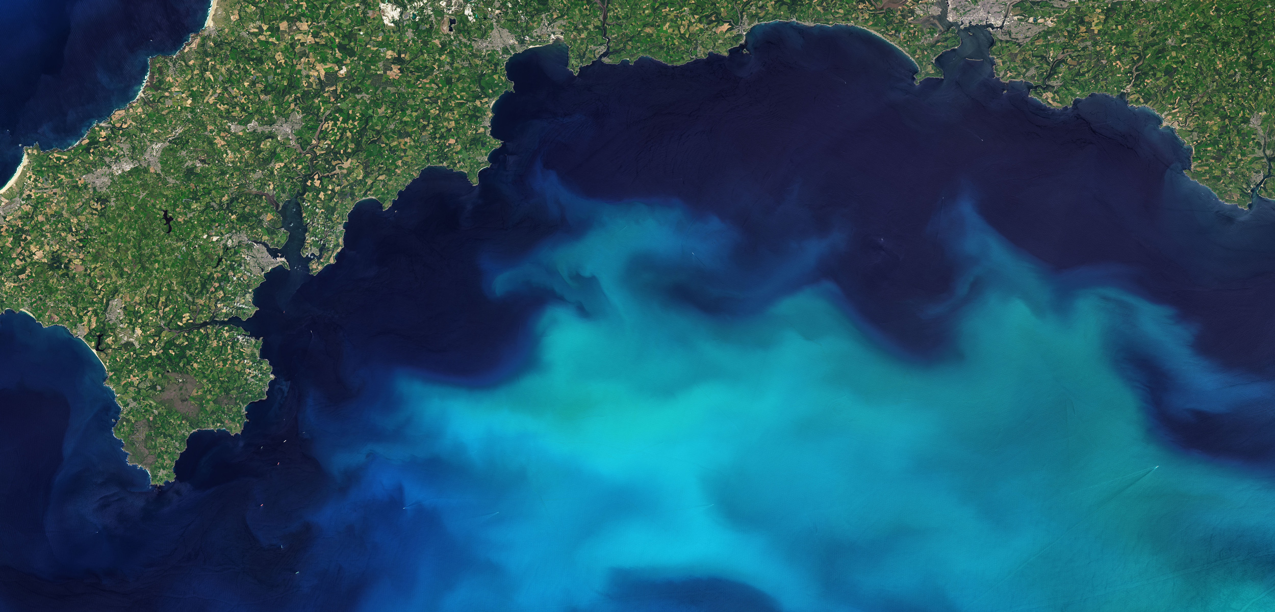 satellite image of plankton bloom in the English Channel
