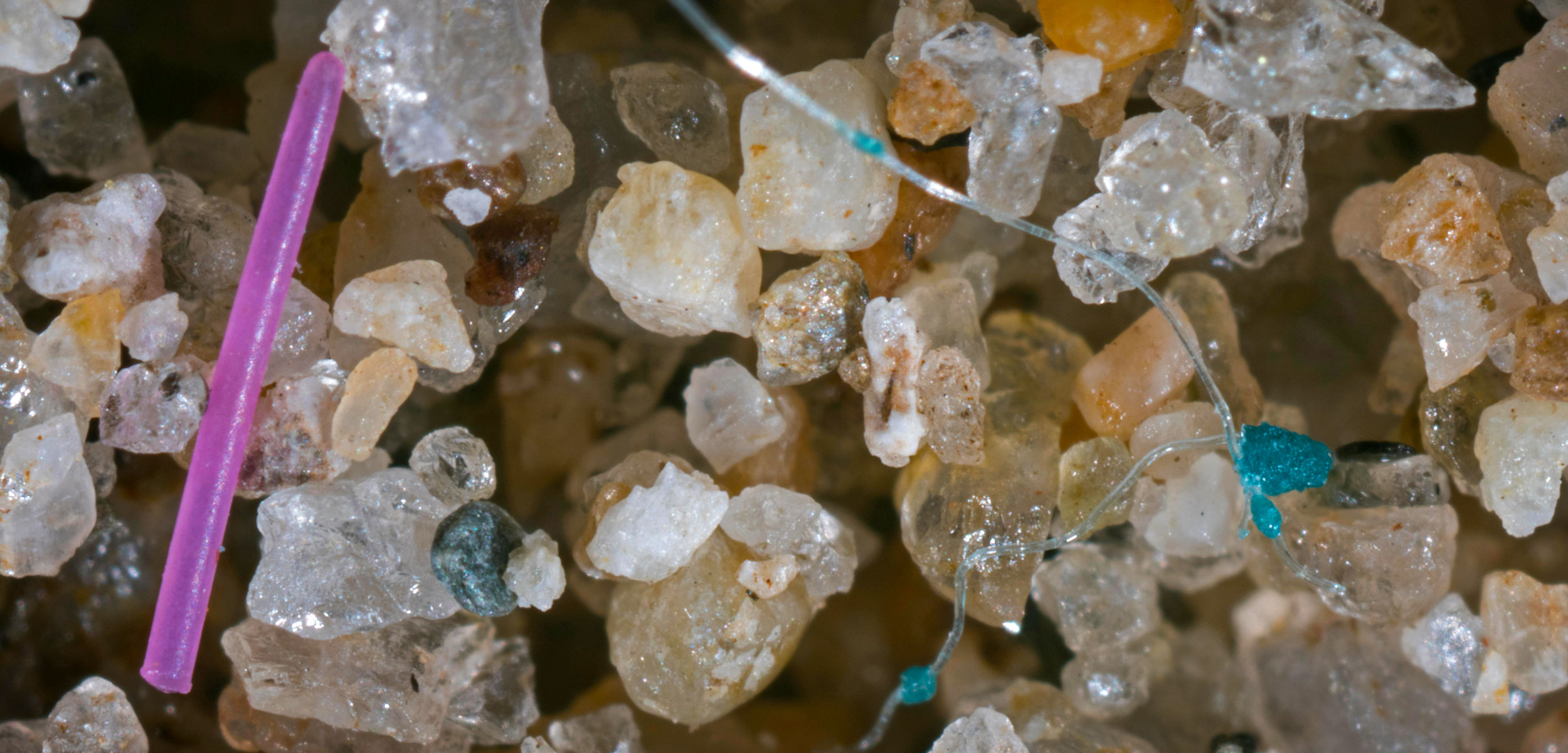 Detail of microplastics mixed with sand from a beach