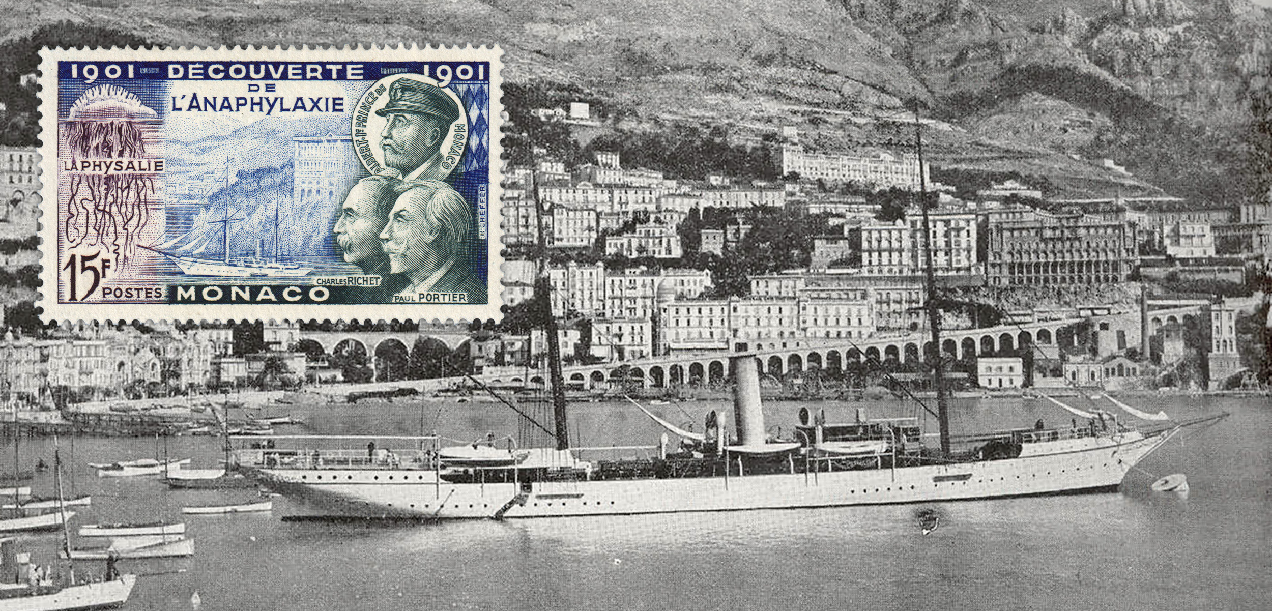 The discovery of anaphylaxis began aboard one of Prince Albert of Monaco's yachts. Monaco commemorated the accomplishment with a series of stamps, but unfortunately depicted the wrong vessel. Background photo courtesy of Freshwater and Marine Image Bank/University of Washington