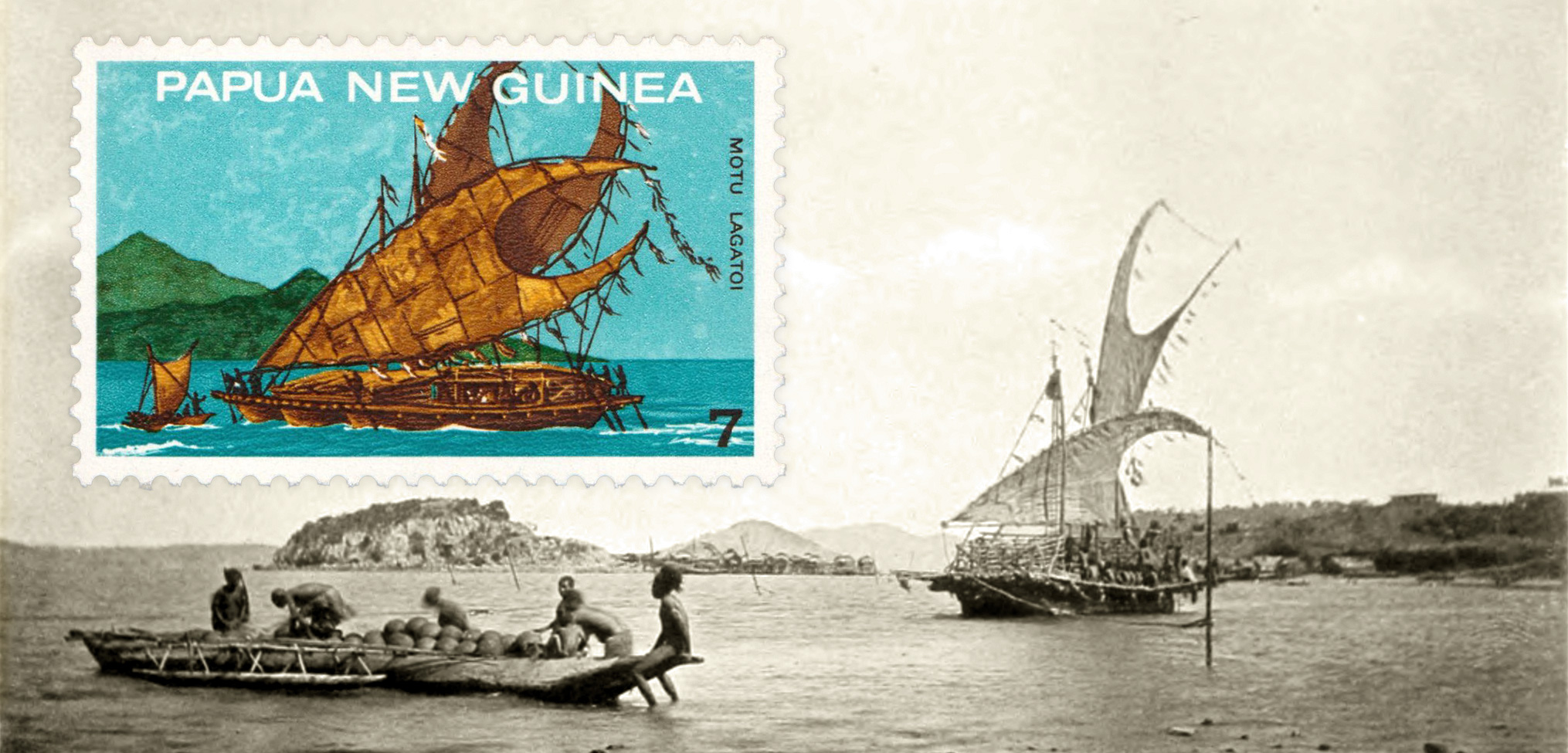 The lagatoi traditional canoe, featured on this seven-cent stamp from 1975, has been a predominant theme in Papuan philately. Stamp image used with permission from Post PNG Ltd, background photo courtesy of Wikimedia