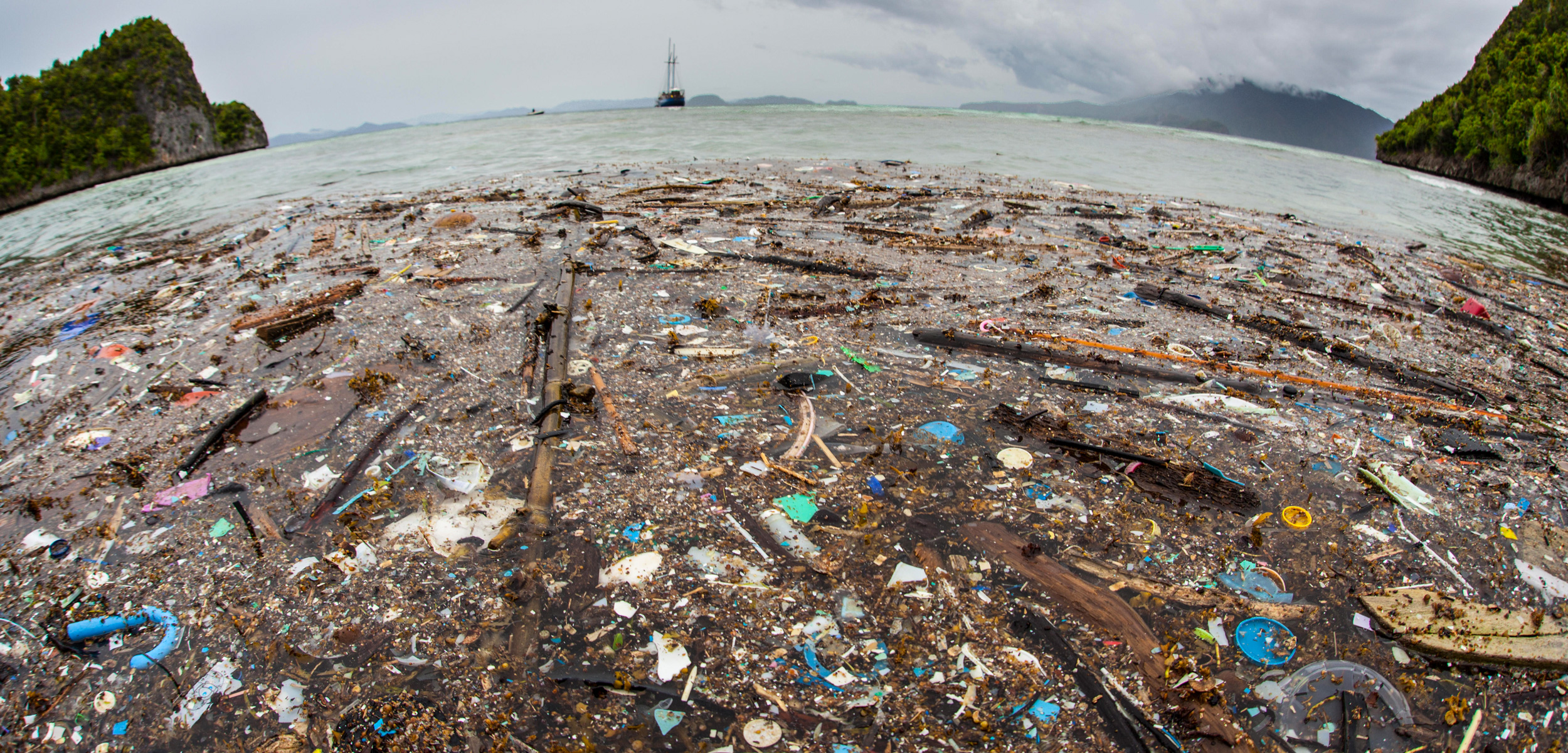 Discarded plastic washes up on a remote island in Raja Ampat, Indonesia
