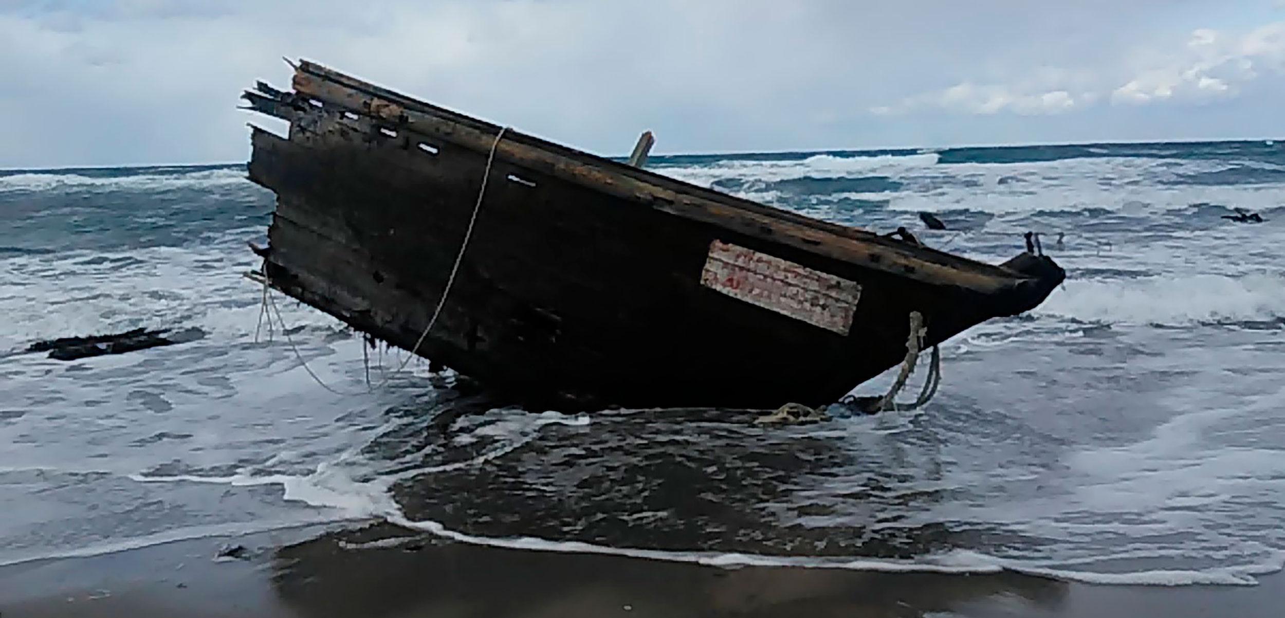 In December 2019, a ship washed up on Sado Island, Japan