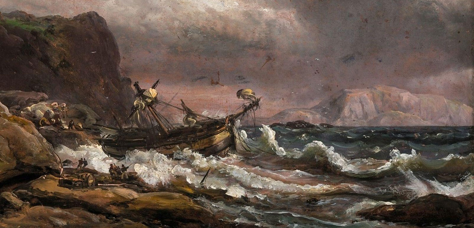 painting depicting a shipwreck
