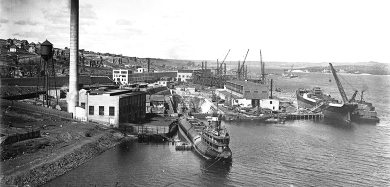The Halifax Shipyard Circa 1919 Hillside In Background Shows Aftermath Of 1917 Explosion Nova Scotias Harbour