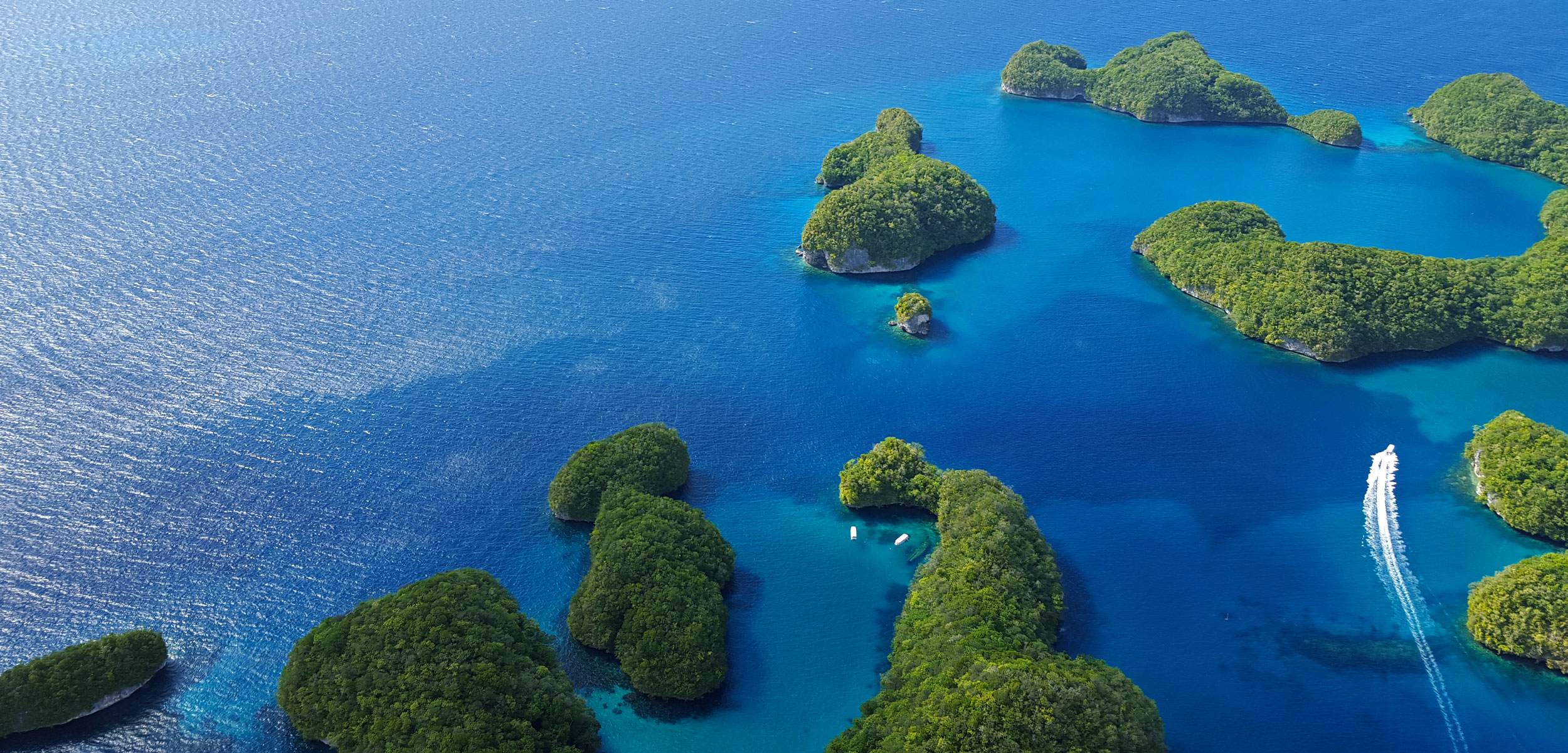 aerial photo of islands in Palau