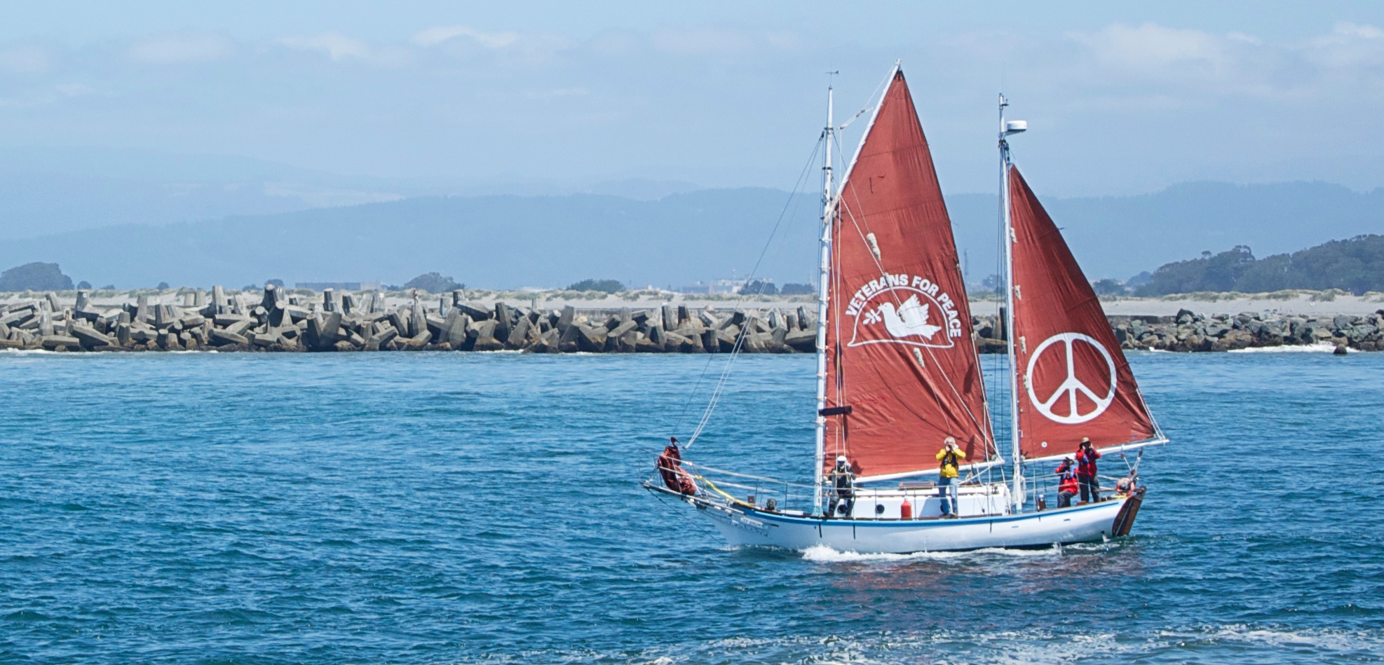 Newly restored, the Golden Rule departs from California's Humboldt Bay on a modern peace mission. Photo by Sarah Scoles