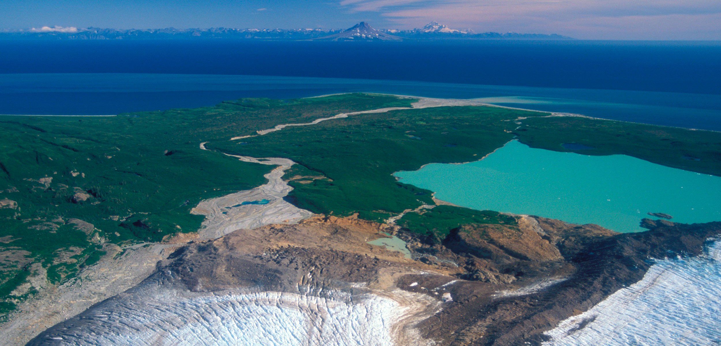 Aereal view of glaciers and shoreline of Kamishak Bay and Mount Douglas, Katmai National Park, Cook Inlet, Alaska