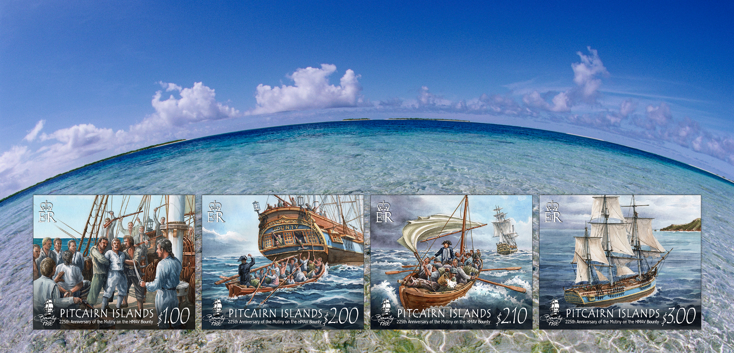 These four postage stamps depict the anchoring moments in one of the most extraordinary events in maritime history: the mutiny aboard HMS Bounty. Background photo by Darrell Gulin/Corbis