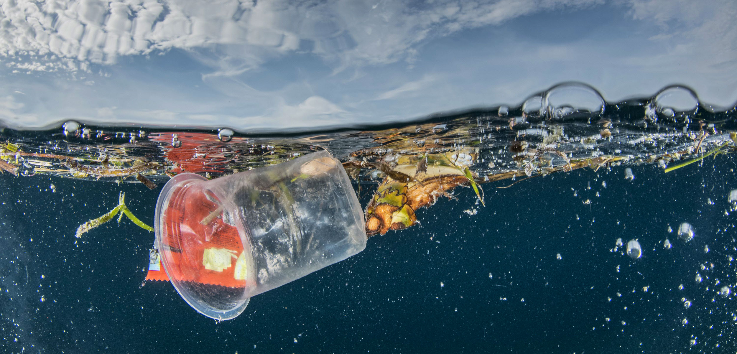 plastic floating in ocean