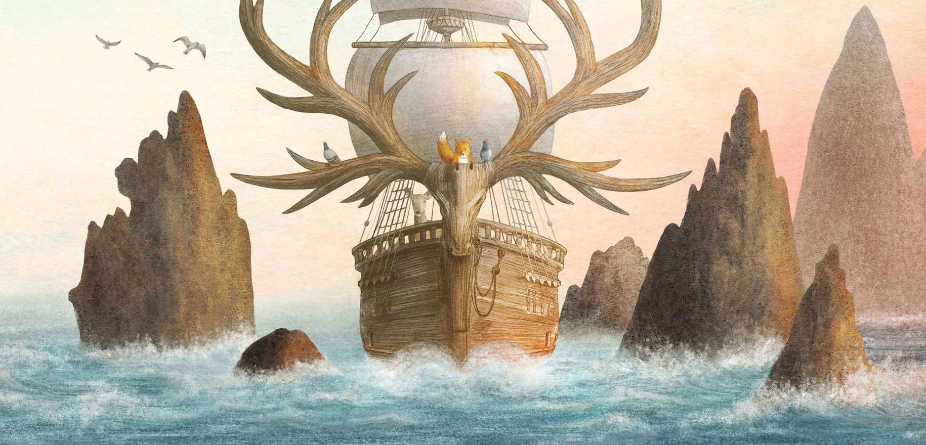 A detail of the cover illustration by Terry Fan and Eric Fan for The Antlered Ship.