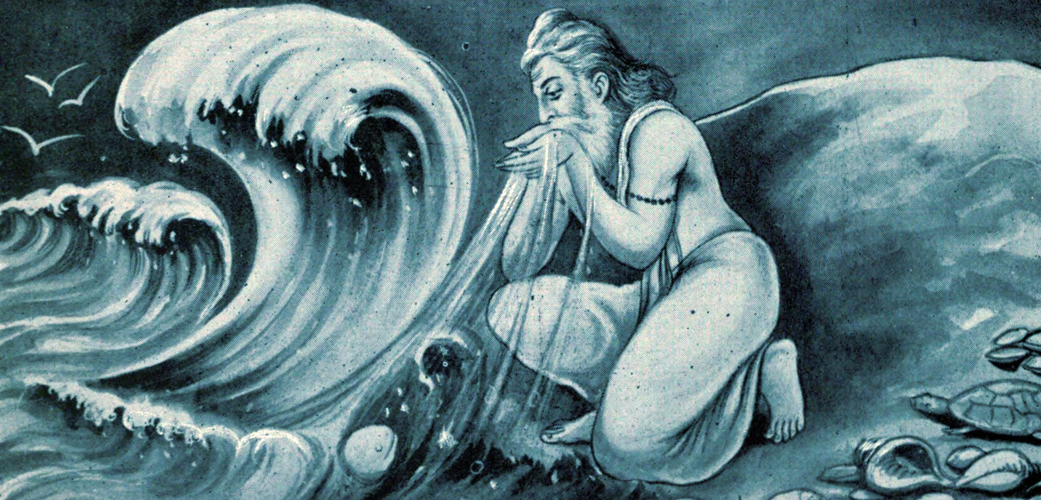 In Hindu mythology, the powerful sage Agastya slurps up the sea and then spews or urinates it out, making it salty.