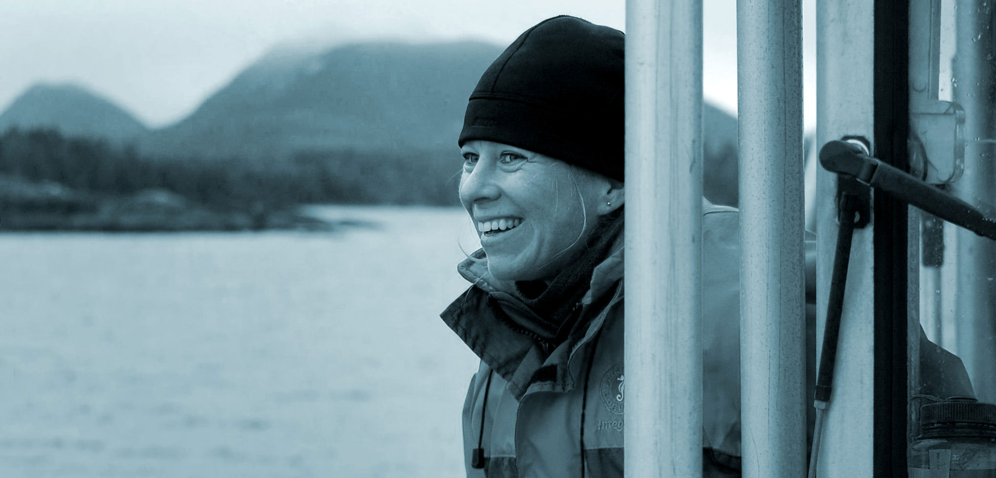 Wendy Szaniszlo on a boat in Barkley Sound, British Columbia