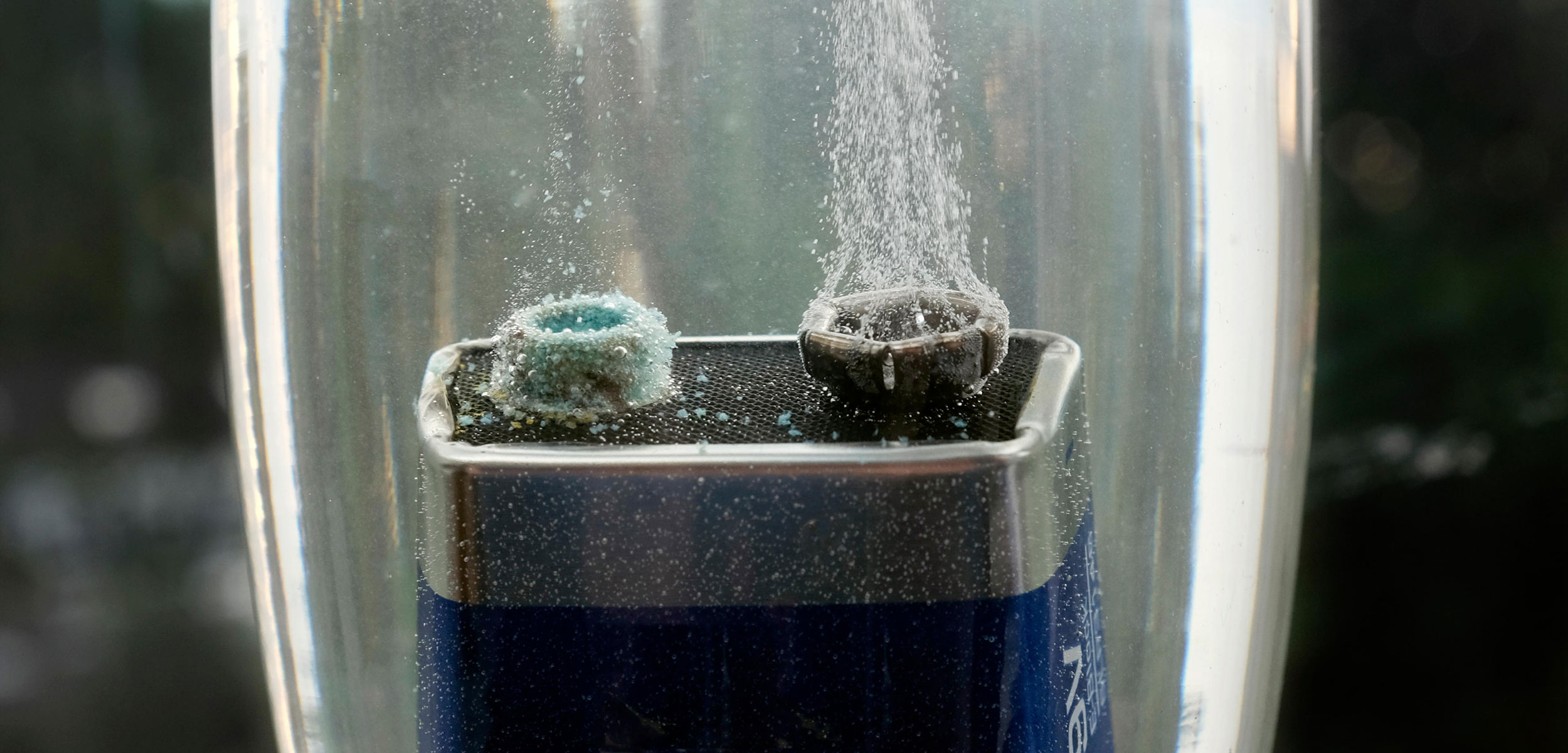 hydrogen bubbling off a submerged battery