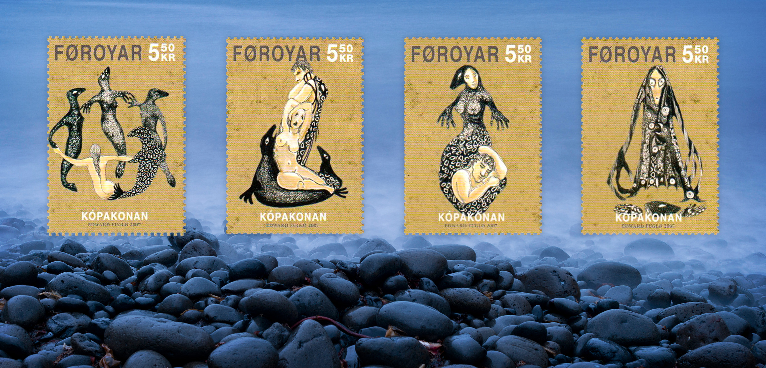 The story of Seal Woman, a Selkie, comes from the Faroe Islands, an archipelago that is part of the Kingdom of Denmark. Artist Edward Fuglø designed a series of 10 stamps, four of which are shown here. Background photo by Olaf Krüger/imagebroker/Corbis