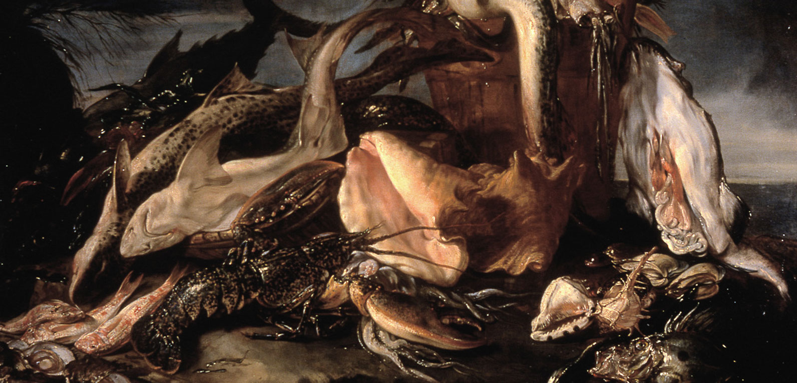 Natura morta con pesci e crostacei by 17th-century Italian painter Marco De Caro