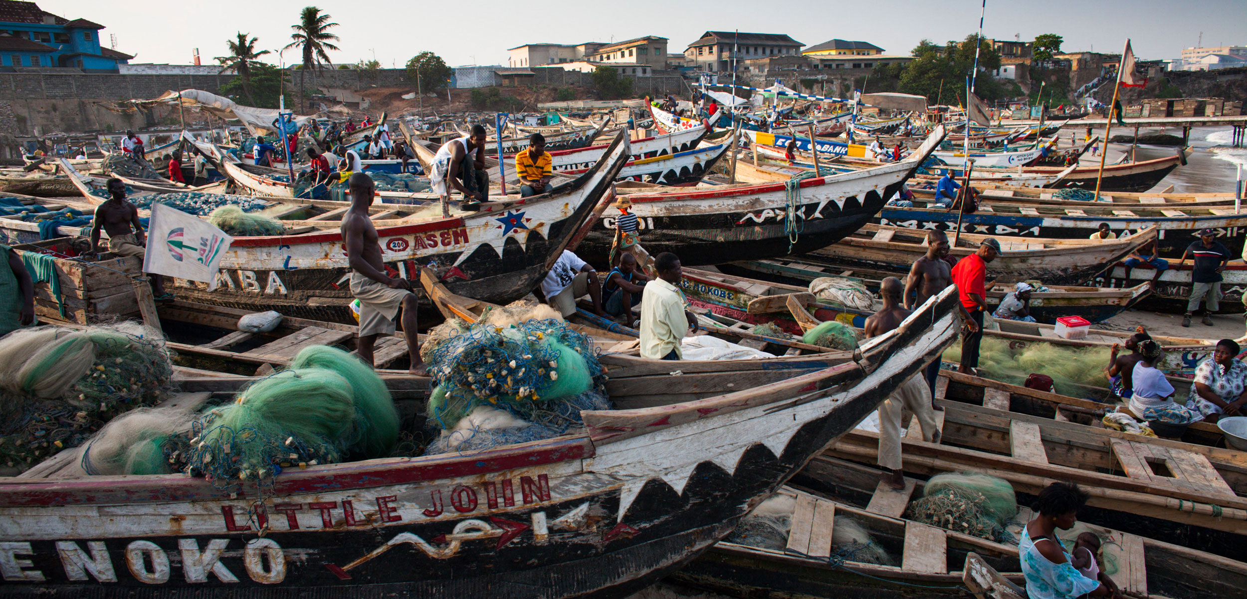 Fishing boats on the beach in Accra, Ghana