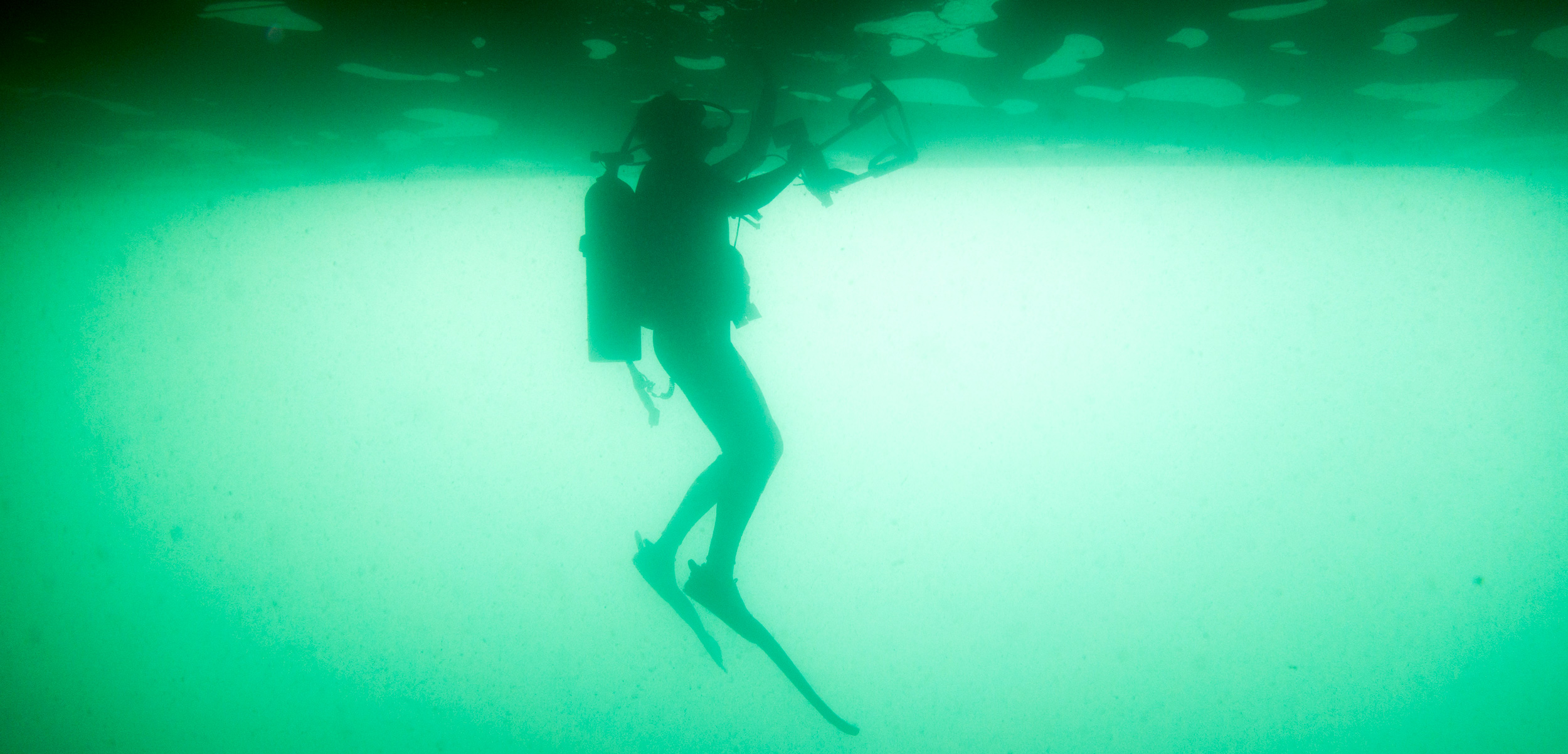 scientific diver beneath the hull of a ship