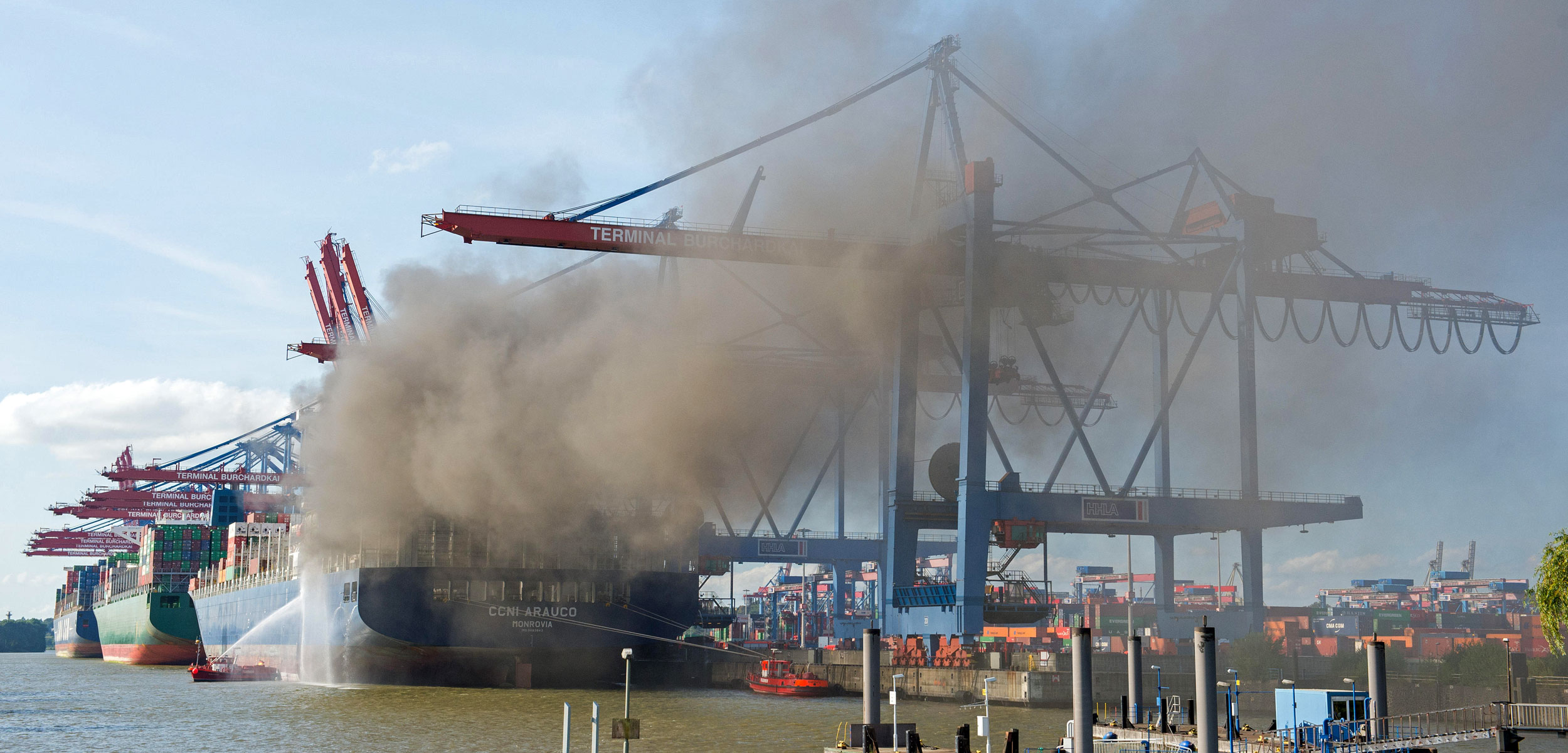 fire aboard a container ship in Hamburg, Germany