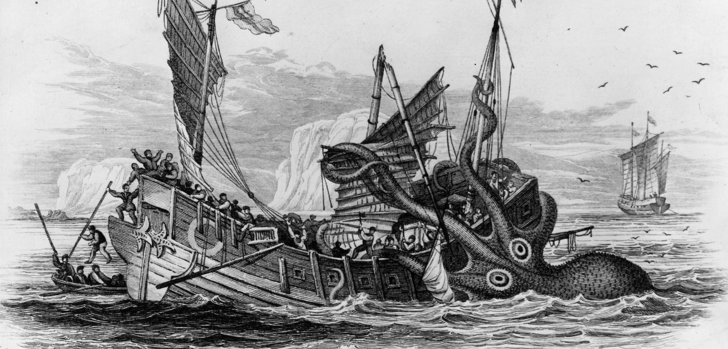 illustration of ship being attacked by a kraken