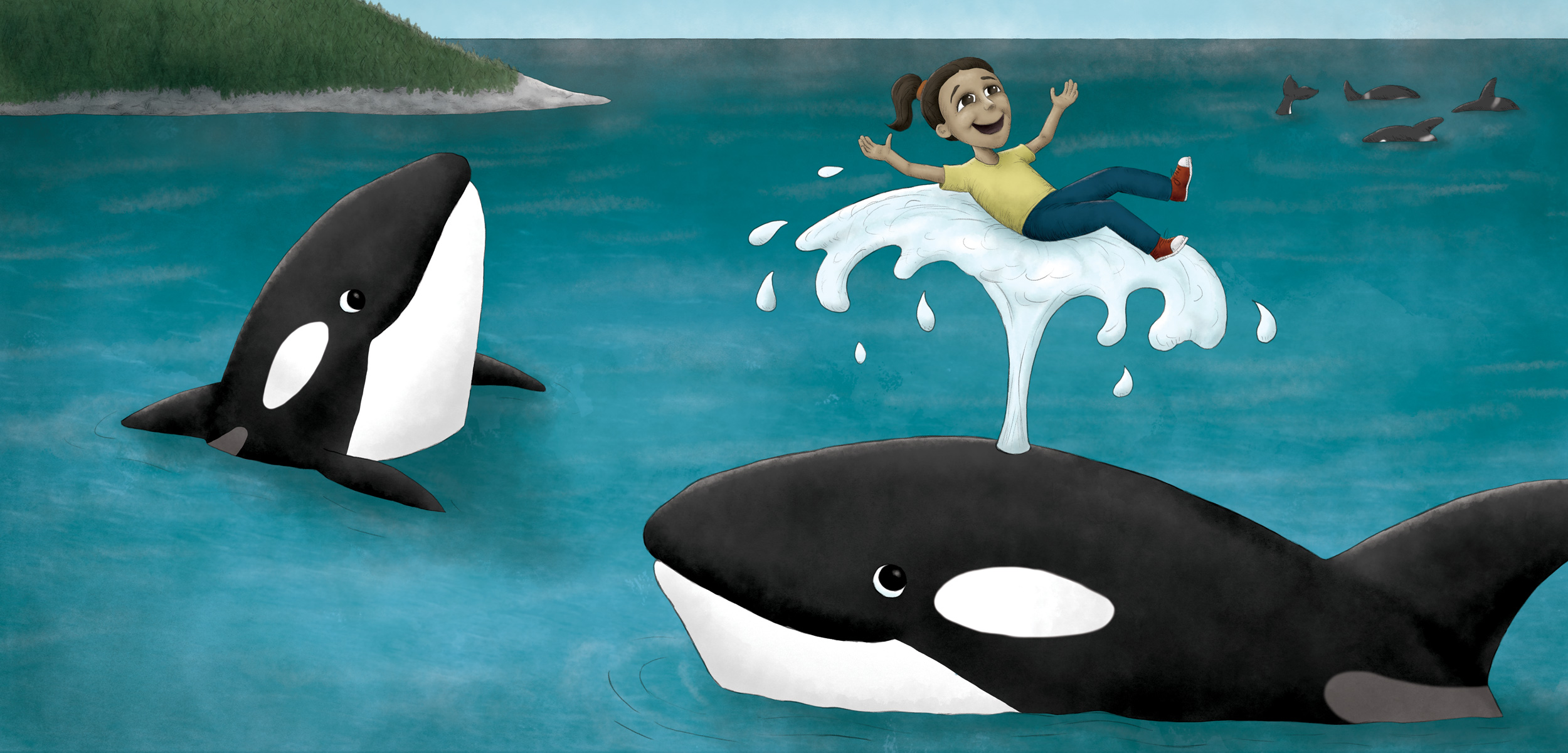 illustration showing a child riding a killer whale's spout