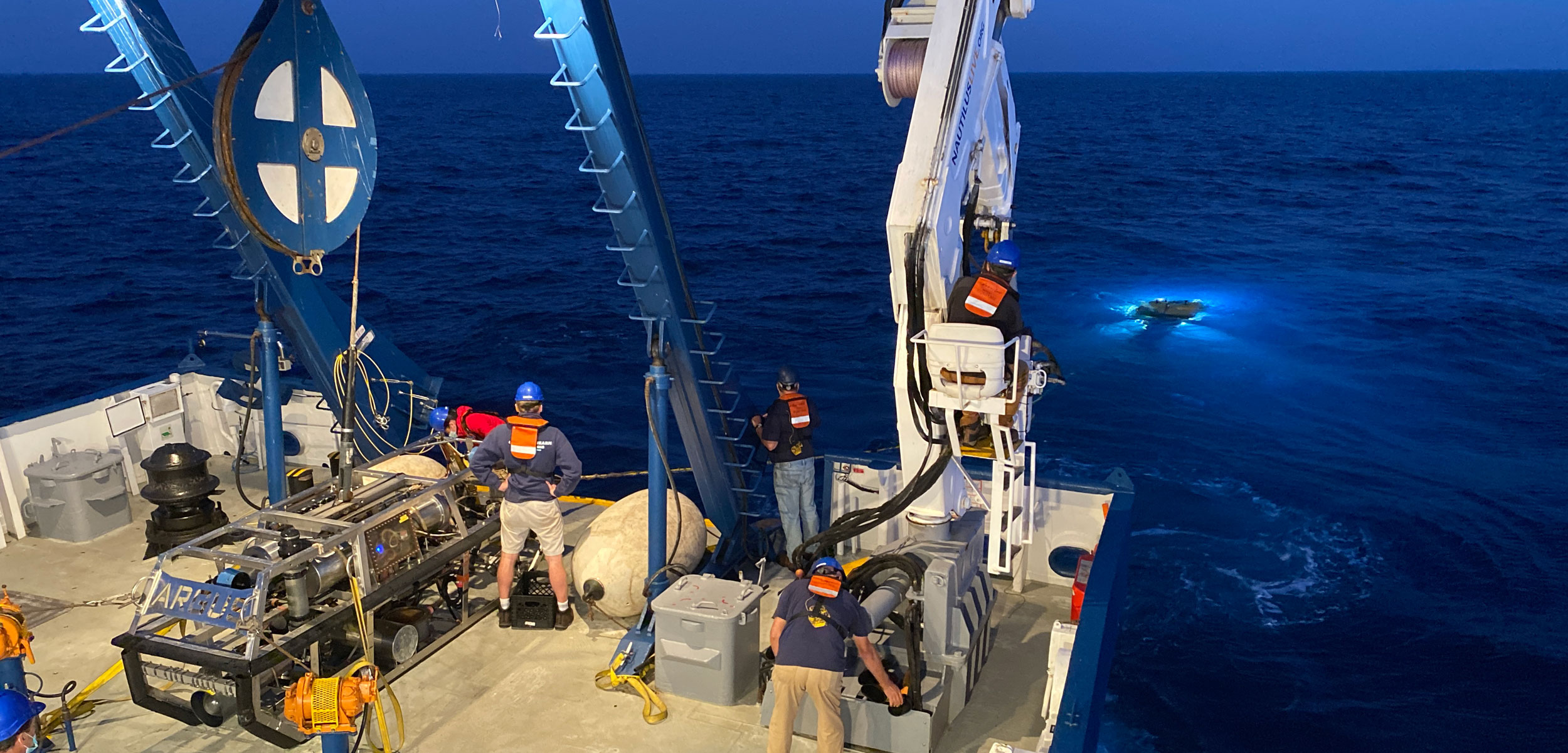 The Nautilus, a research vessel operated by the Ocean Exploration Trust, and the ROV Hercules
