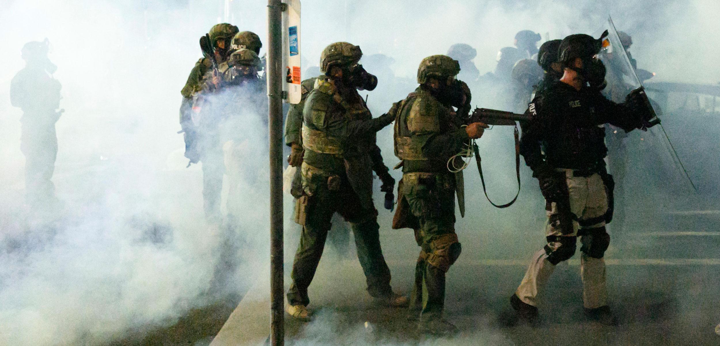 police using tear gas in Portland, Oregon