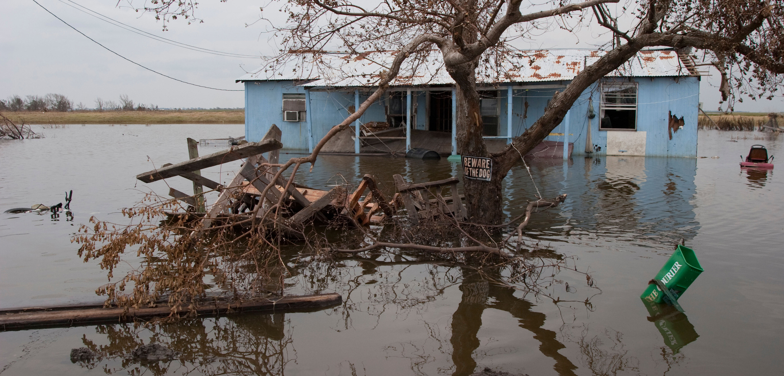 Flooded house in Isle de Jean Charles, Louisiana